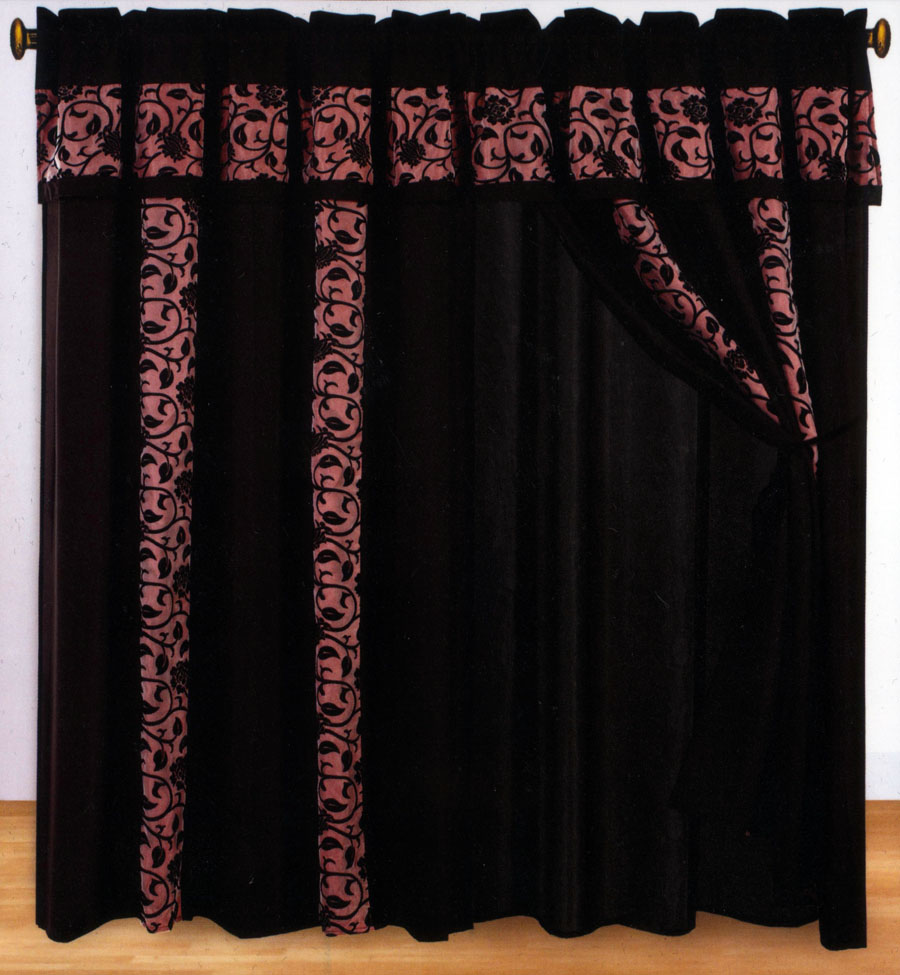 4 pc classy floral motif window curtain set burgundy black