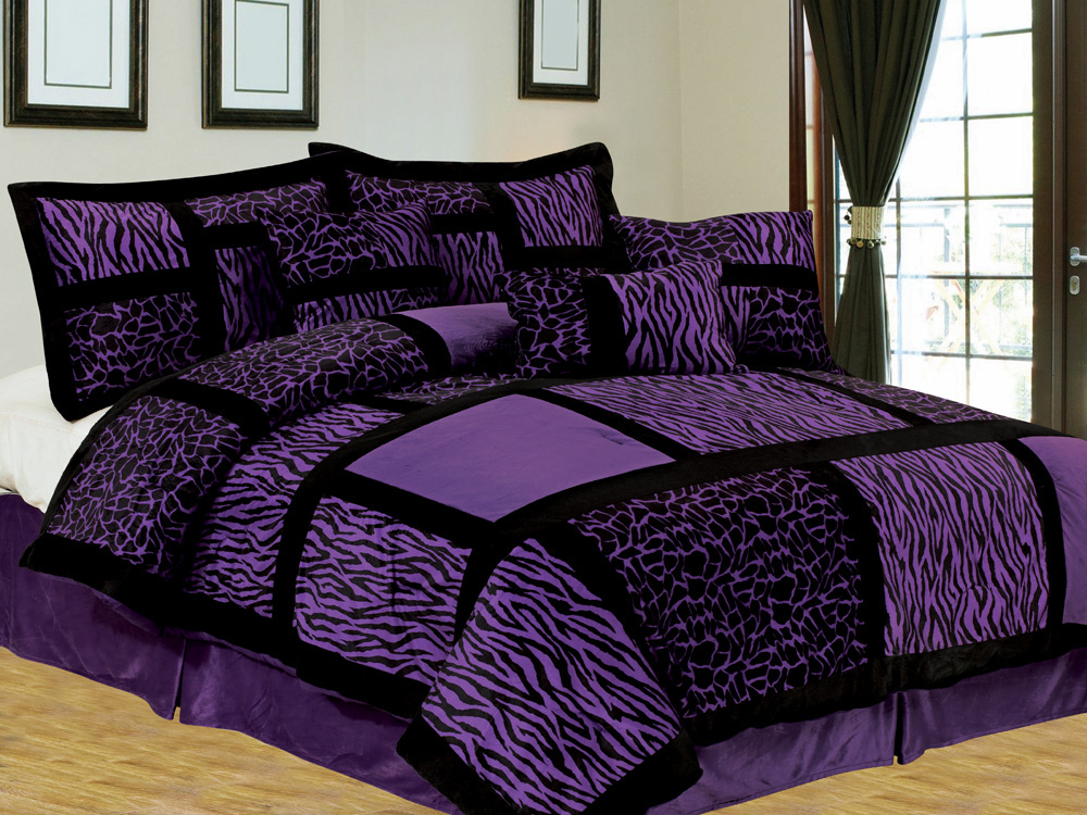 7 pc safari patchwork micro fur comforter set giraffe zebra black purple king ebay. Black Bedroom Furniture Sets. Home Design Ideas
