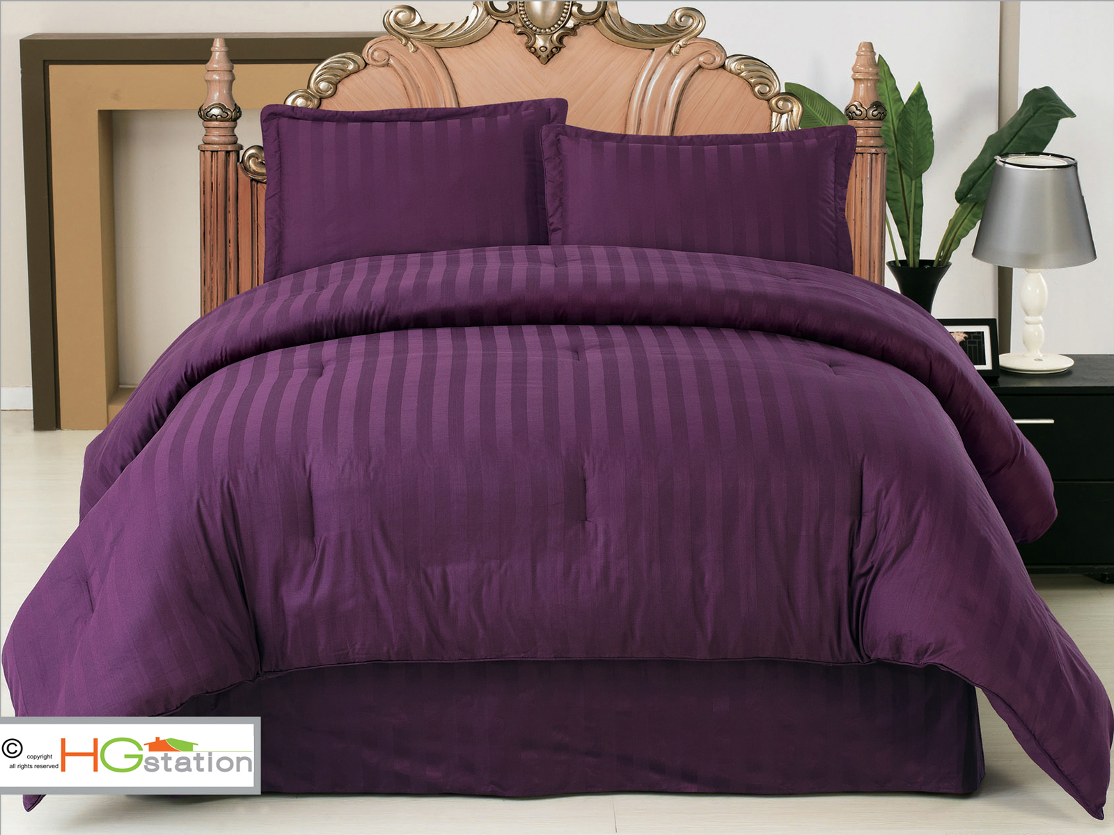 4 pc elegant classic damask stripe comforter set purple