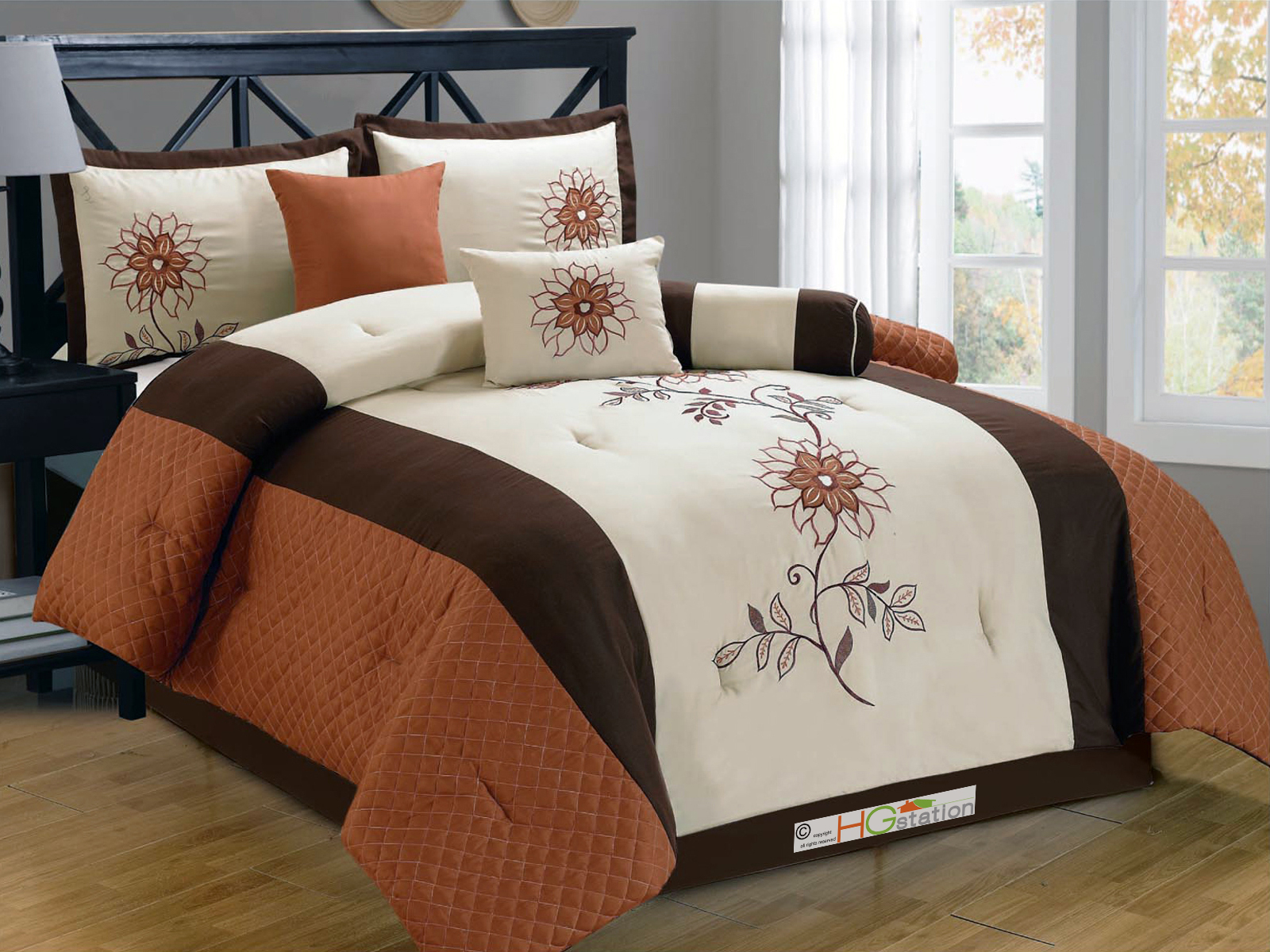Details about 11-Pc Quilted Sunflower Embroidery Comforter Curtain Set ...