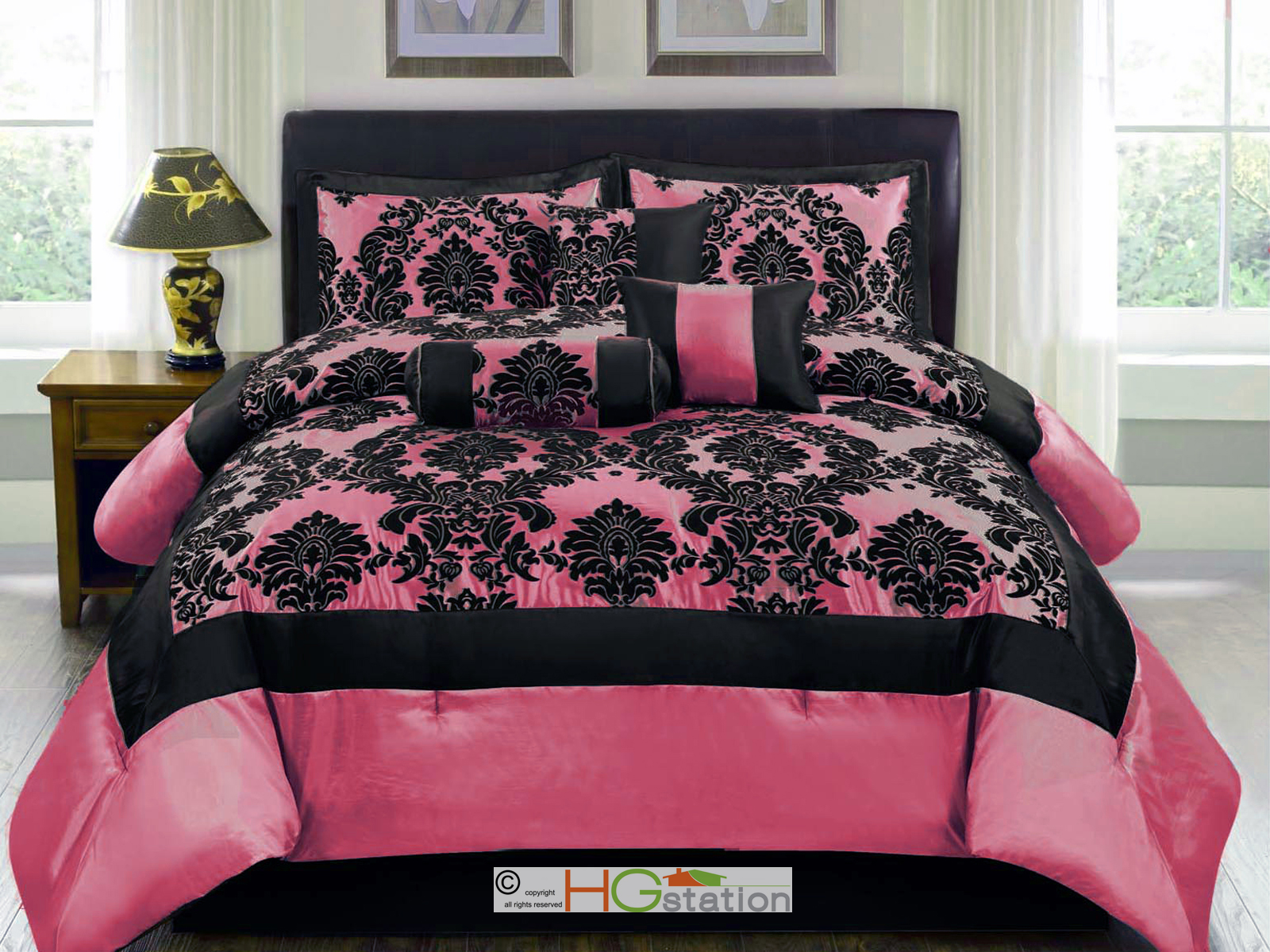 7 pc silky satin flocking damask floral square comforter for Hot pink bedroom set