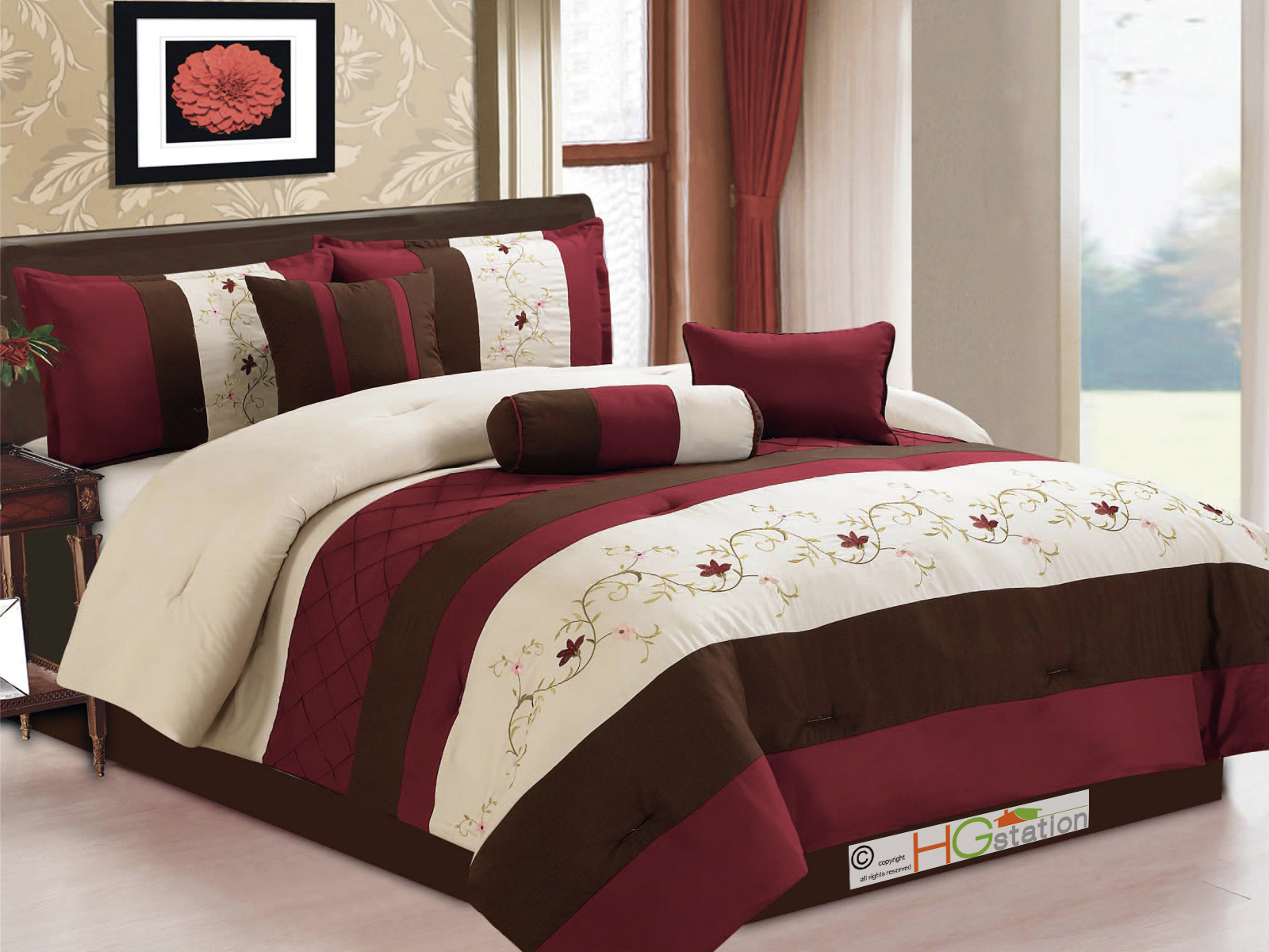 7-Pc Floral Scroll Embroidery Pleated Comforter Set