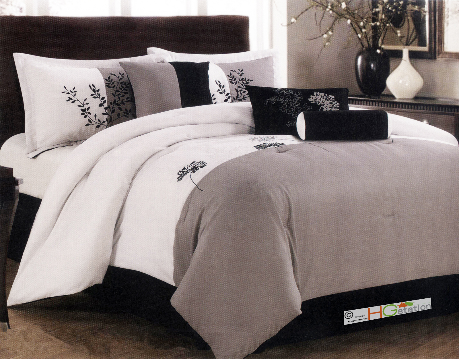 Black White Taupe Bedroom Of 7 Pc Soft Striped Floral Leaves Embroidery Comforter Set