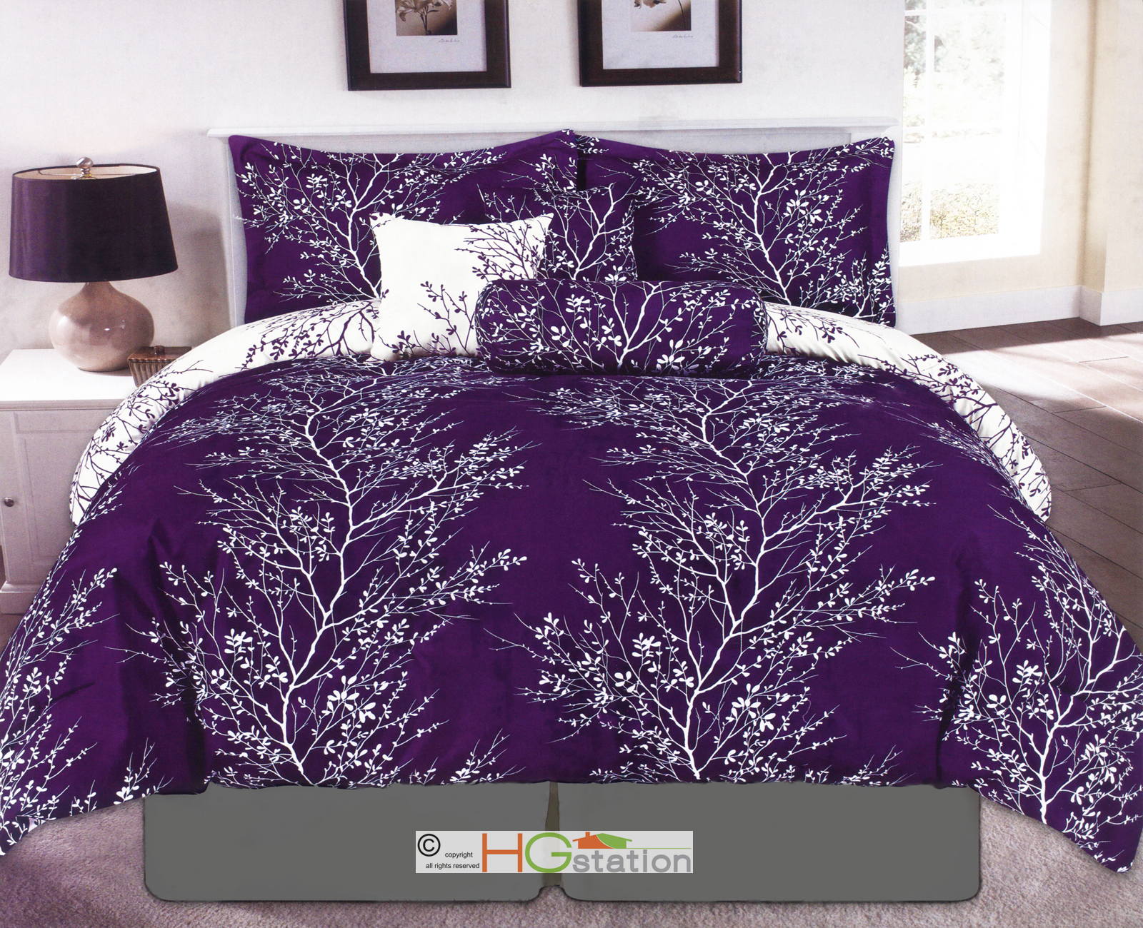 7 Nature Dendron Branches Silhouette Reversible Comforter Set Purple White Queen