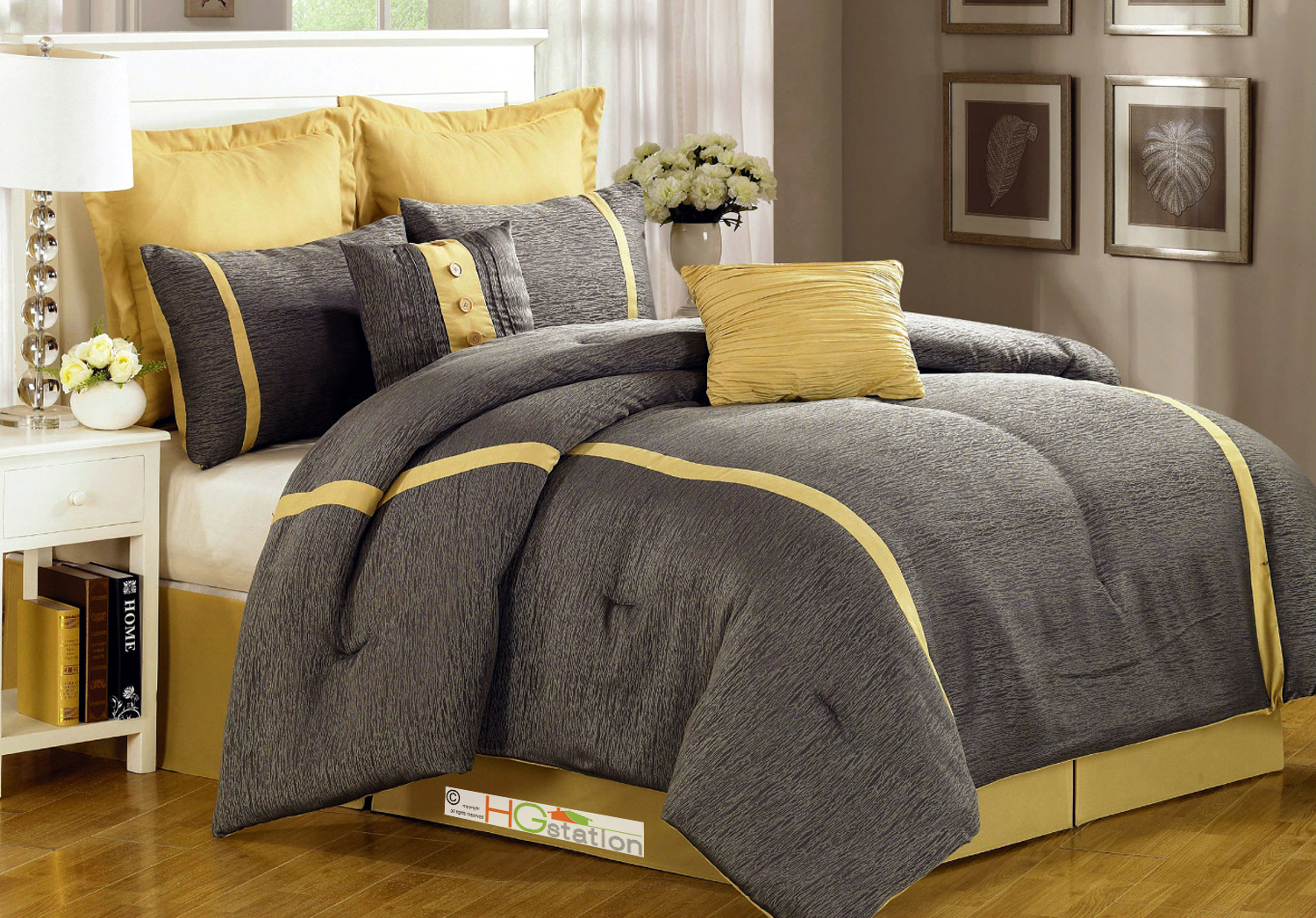 8 pc animal skin texture striped jacquard comforter set gray silver yellow queen ebay. Black Bedroom Furniture Sets. Home Design Ideas
