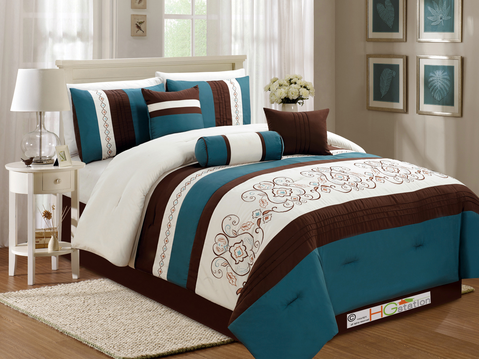 7 pc floral scroll damask embroidery piping comforter set Teal bedding sets