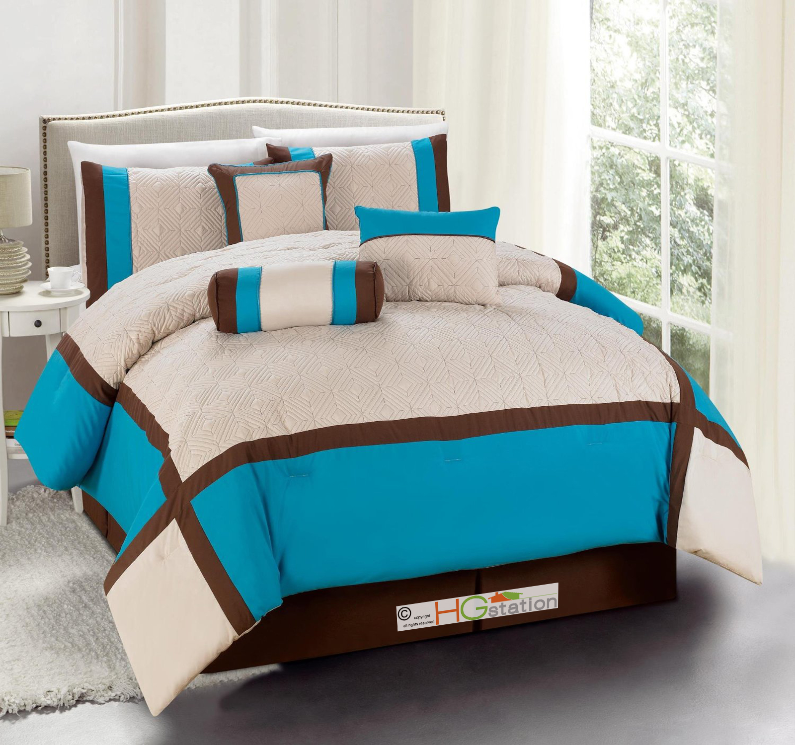 diamond square patchwork comforter curtain set turquoise brown queen