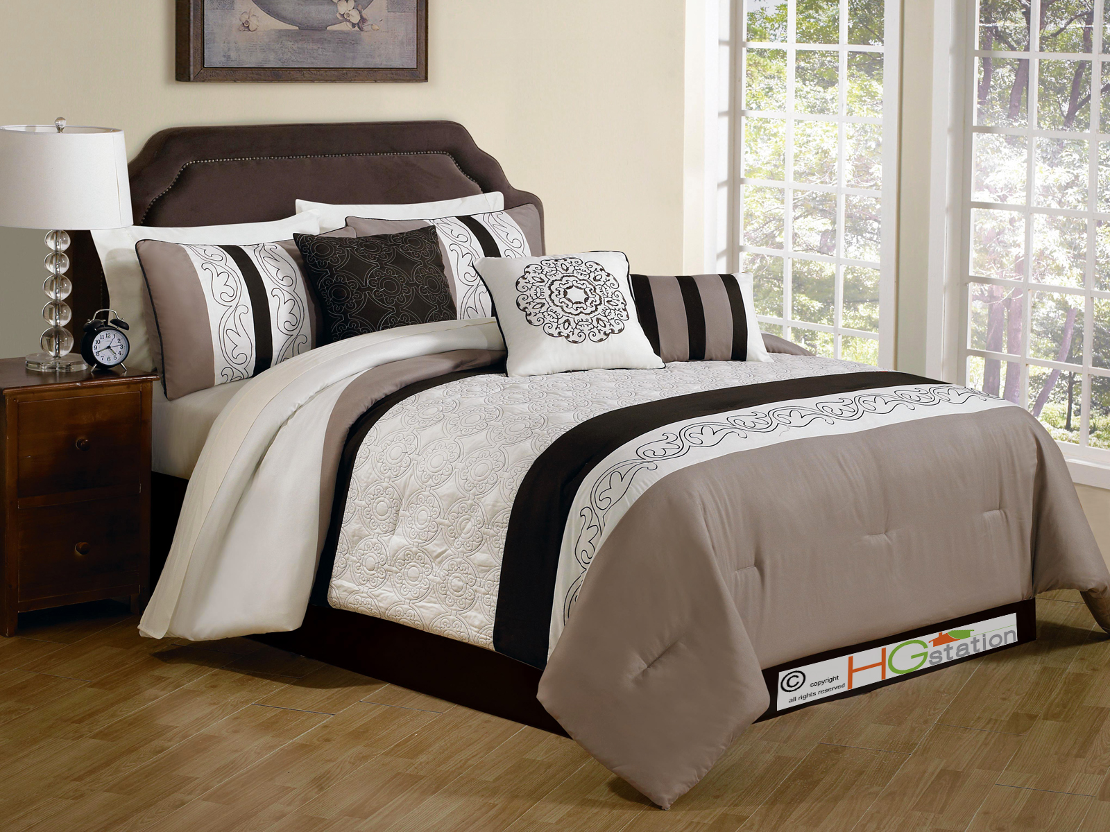 11pc comforter set quilted embroidery royal floral damask