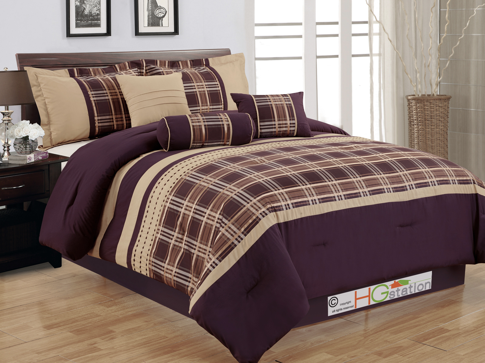 7 Pc Plaid Striped Embroidery Satin Comforter Set Coffee