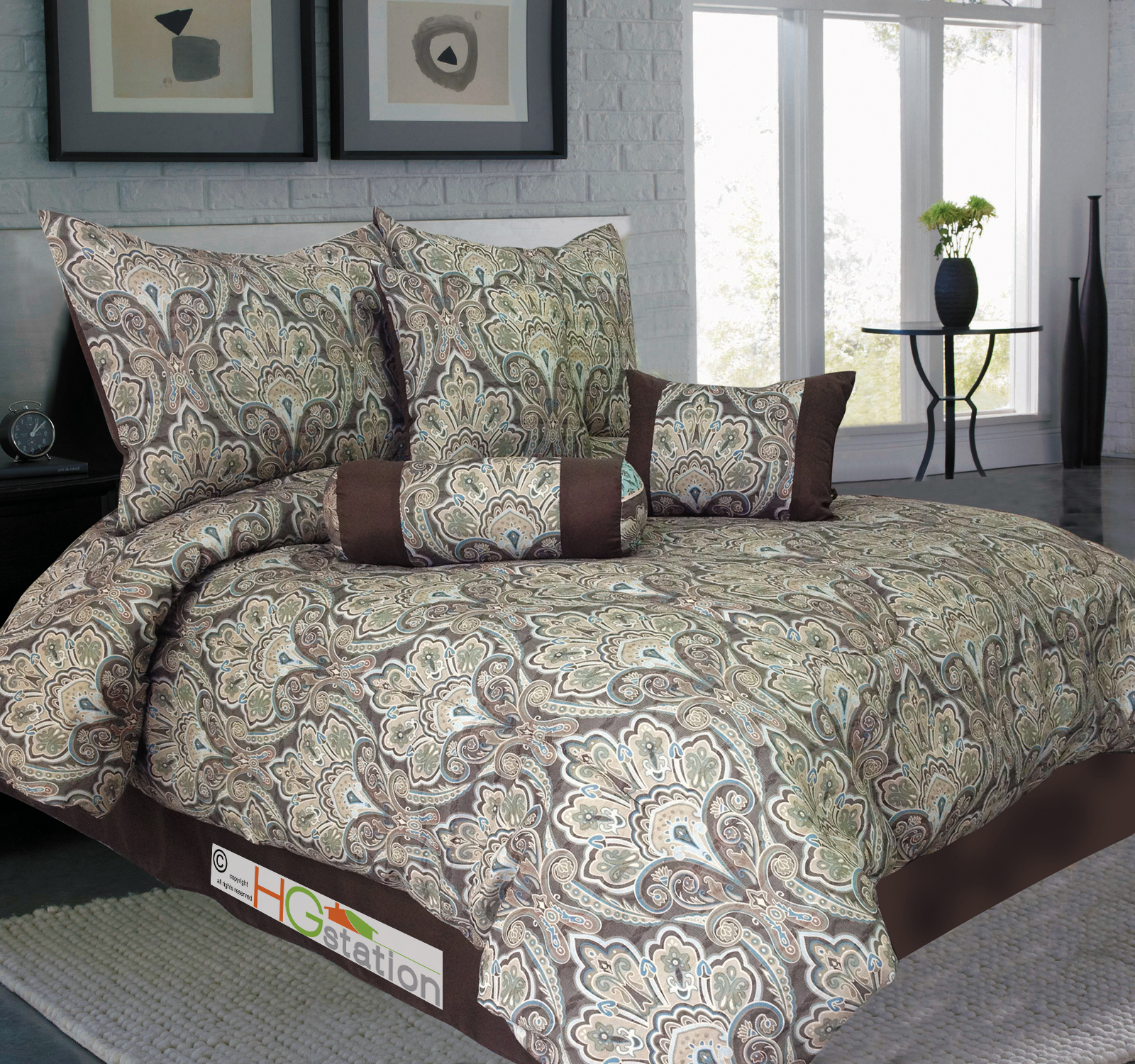 7 pc jacquard french floral damask comforter set light. Black Bedroom Furniture Sets. Home Design Ideas