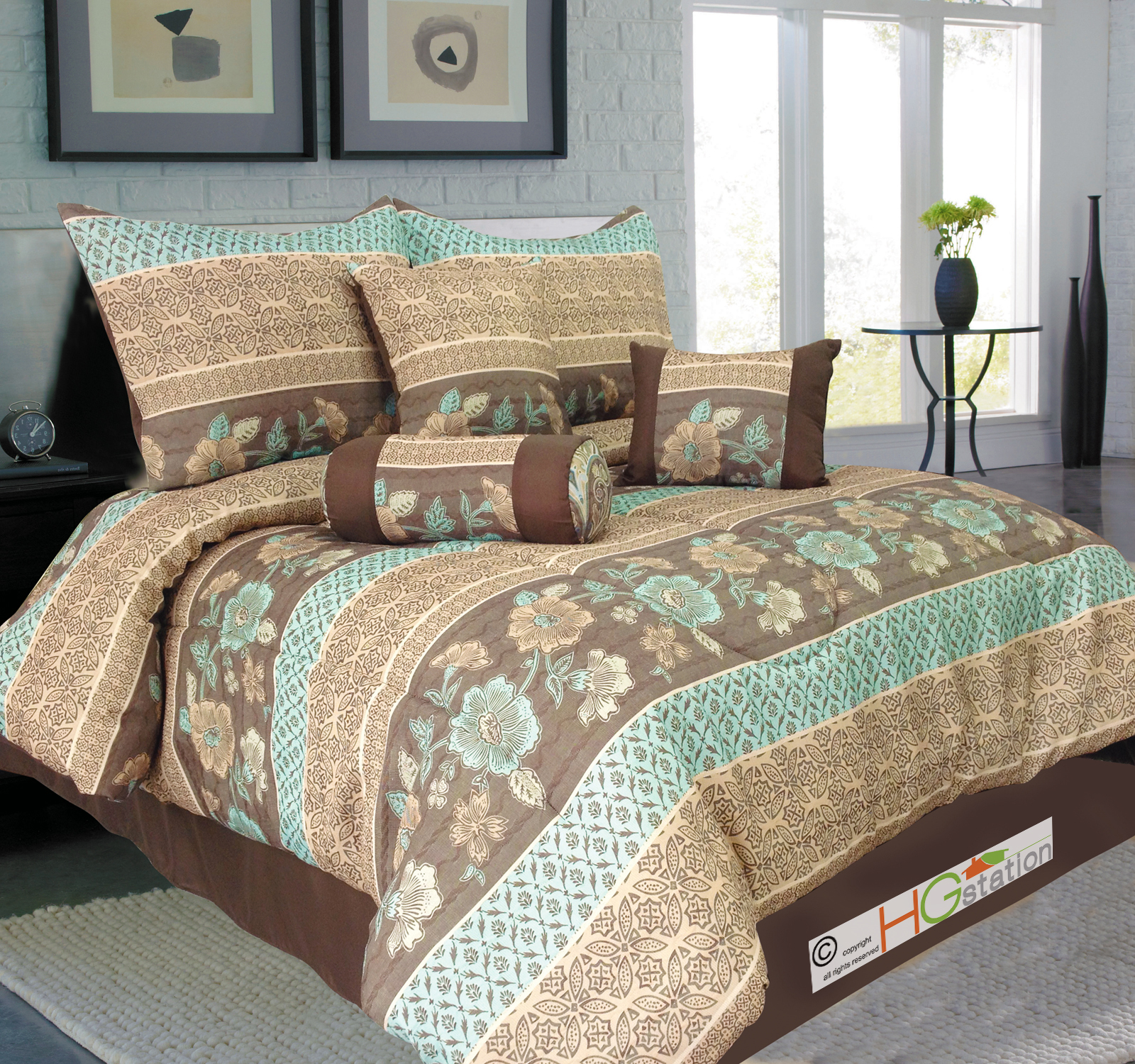 7p Jacquard Floral French Lily Clover Comforter Set Blue