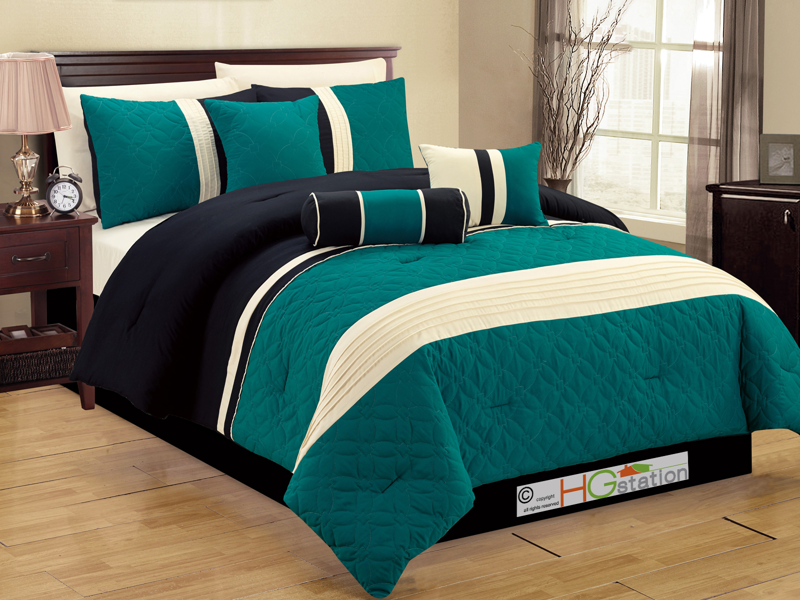 HG station 7-Pc Quilted Geometric Medallion Pleated Striped Comforter Set Queen Teal Blue-Green Black Ivory