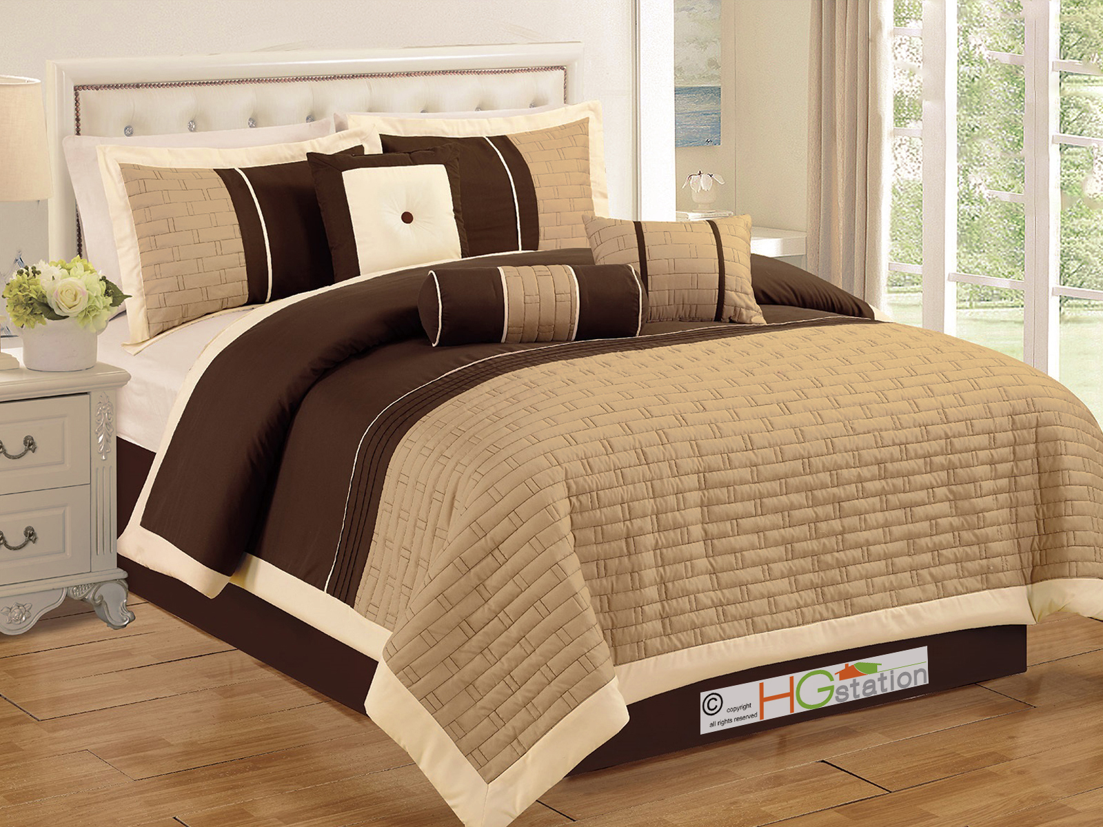7pc brickyard quilted pleated striped comforter set tan coff