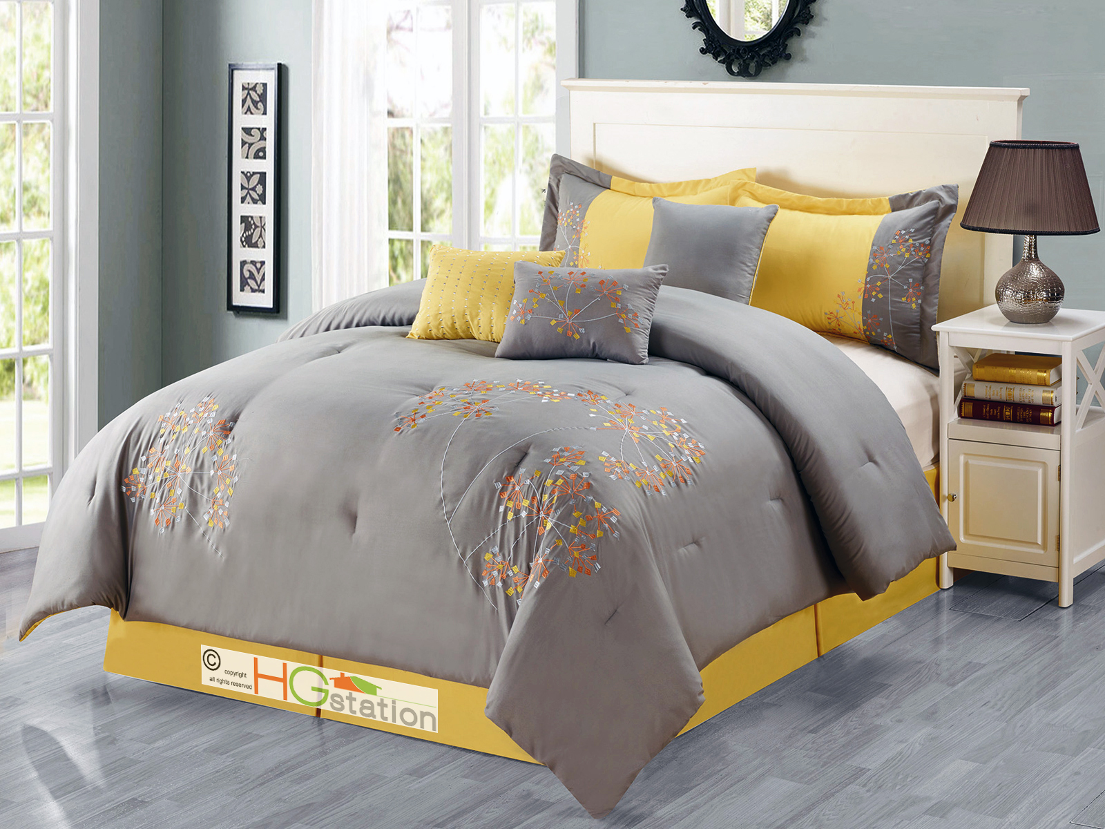 7-Pc Cheerful Dandelion Floral Embroidery Comforter Set