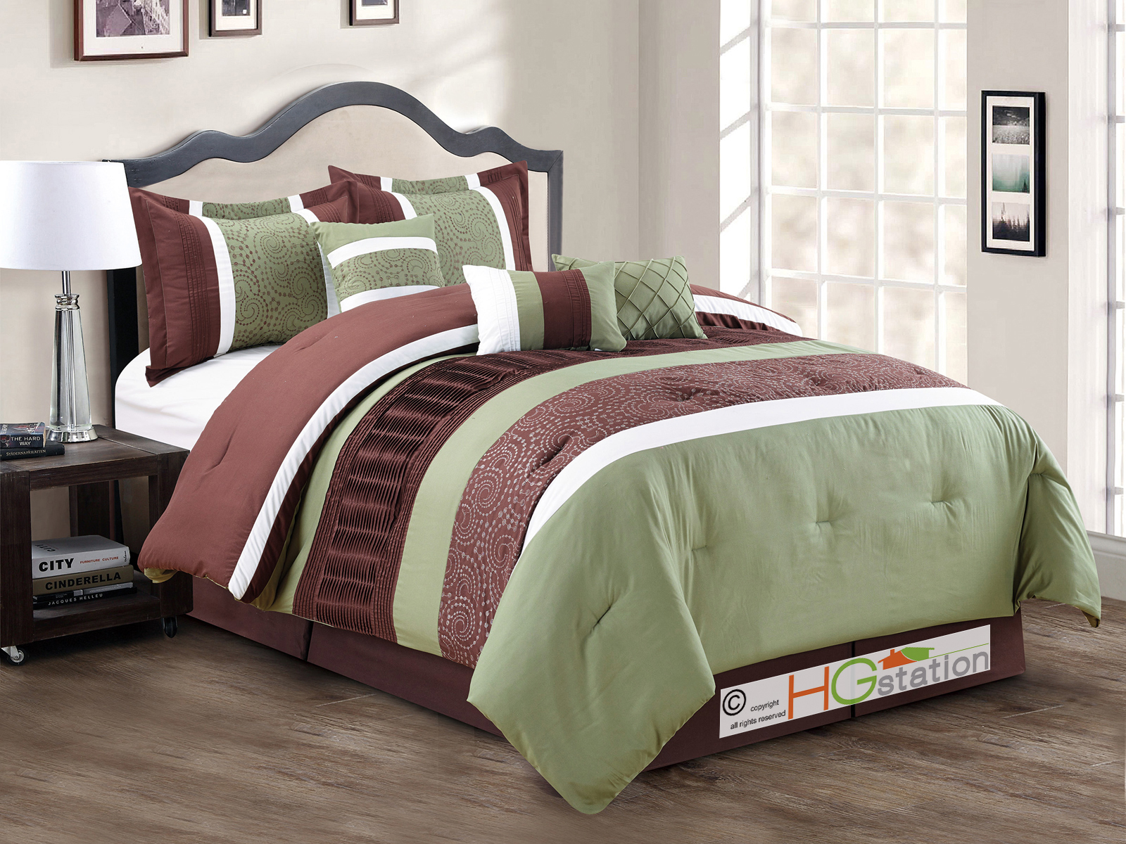 7 pc spores scroll floral embroidery ruffled comforter set - Green and brown comforter ...