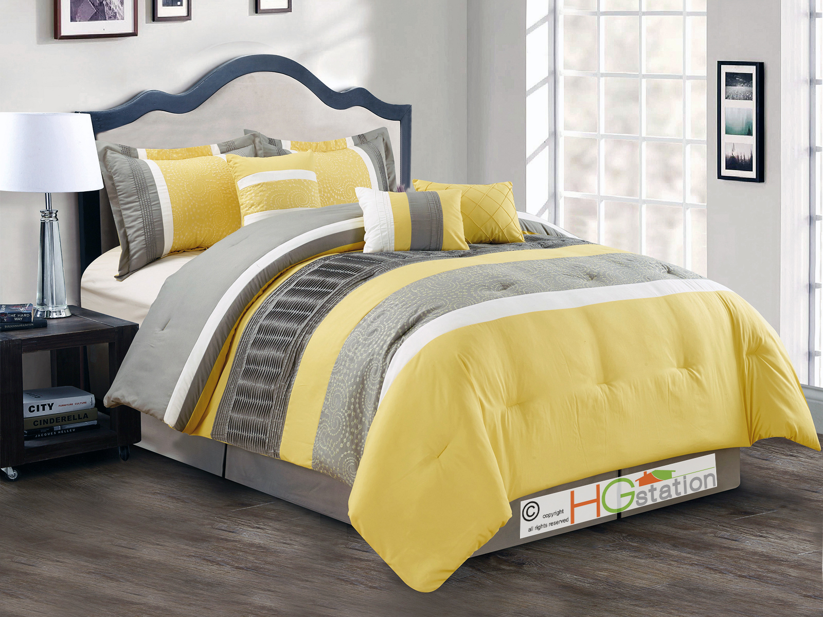 Yellow Grey And White Bedding Sets: 7-P Spores Scroll Floral Embroidery Ruffled Comforter Set