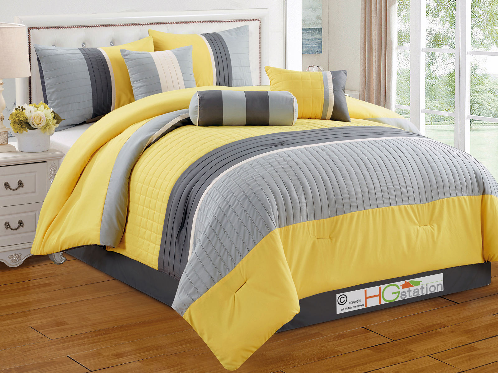 7-Pc Quilted Square Pleated Striped Comforter Set King