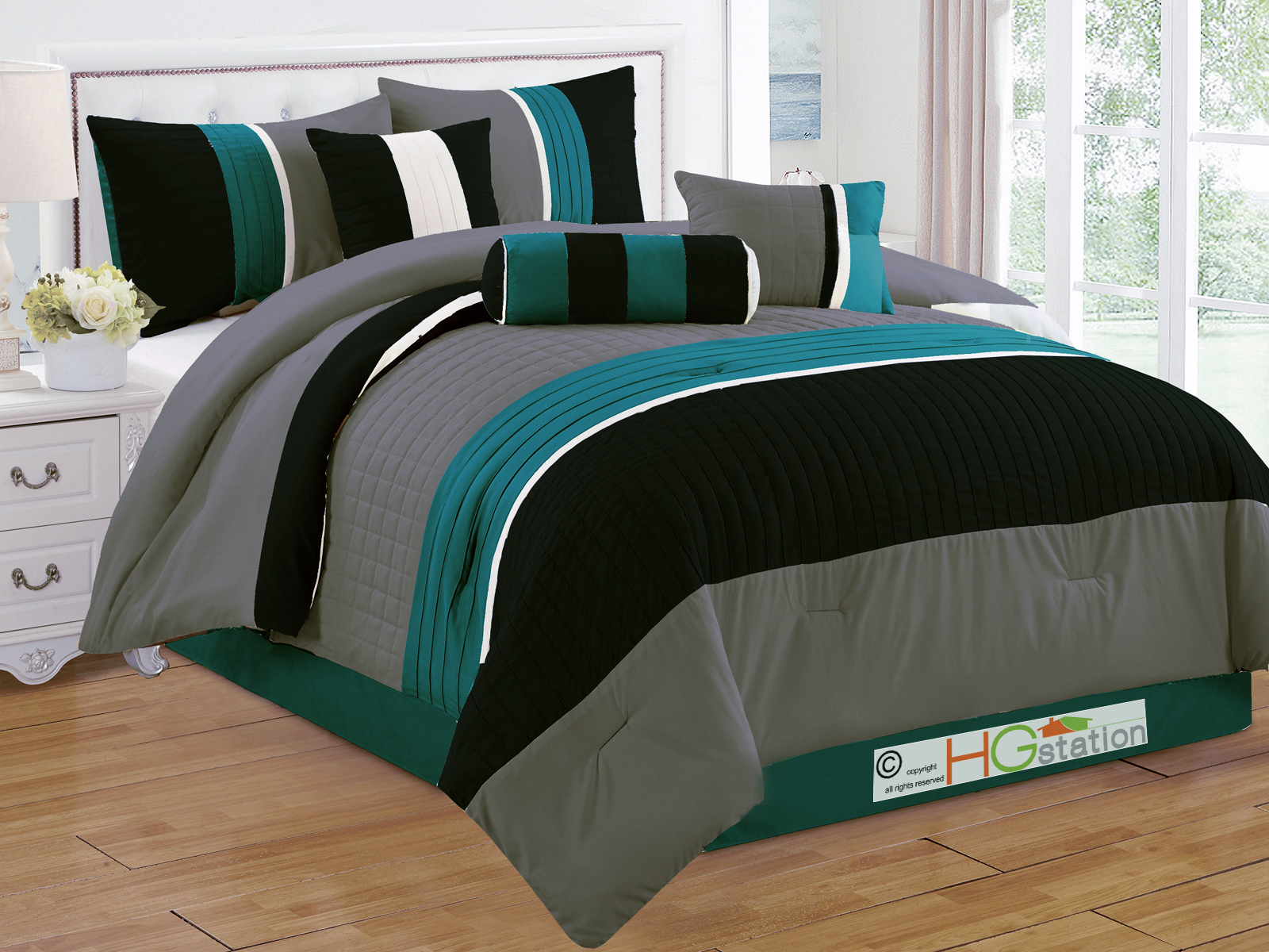 HG station 7-Pc Quilted Square Pleated Striped Comforter Set King Teal Blue-Green Black Gray Beige