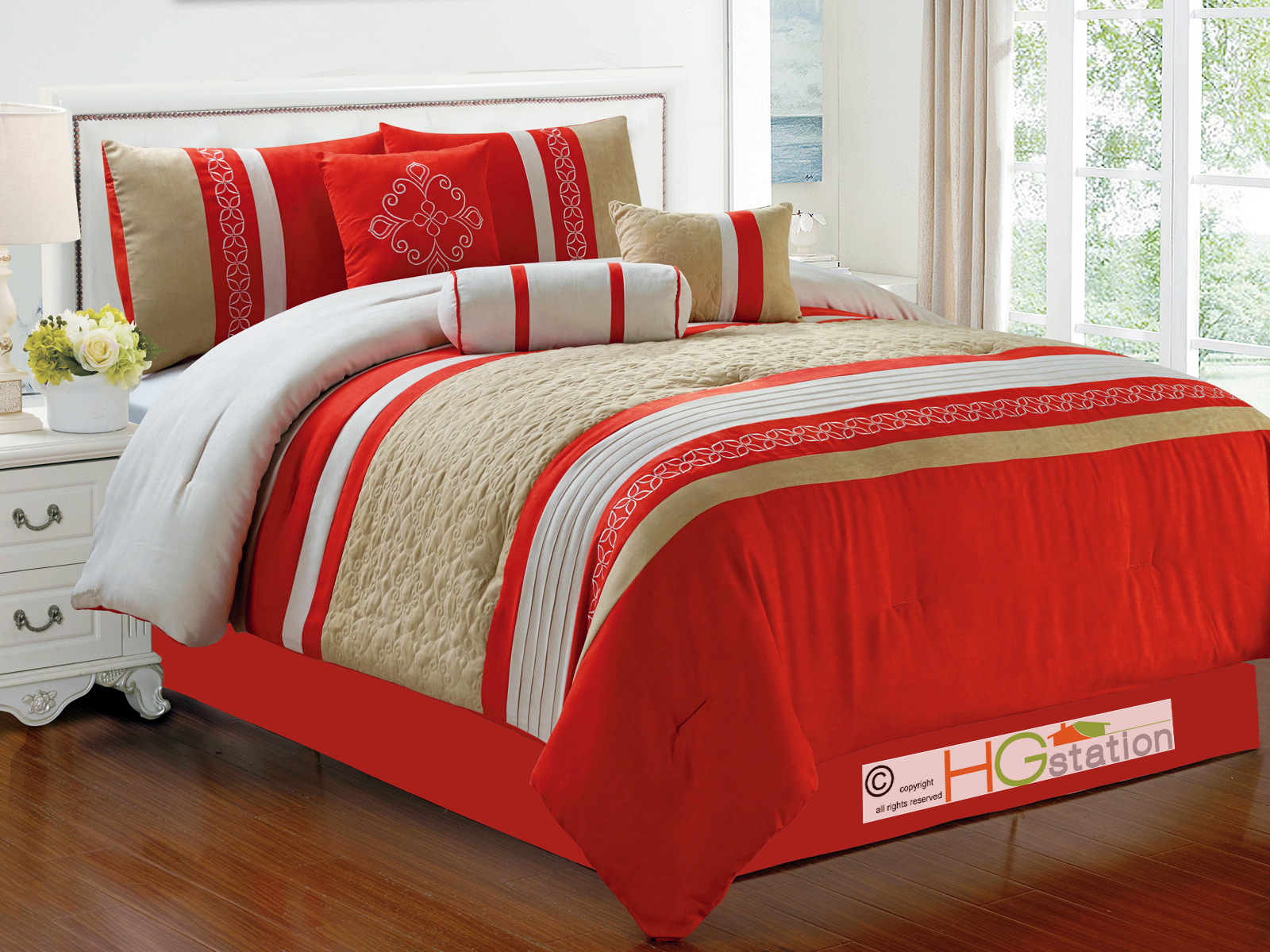 7pc quilted damask medallion faux suede comforter set red - Red and orange comforter sets ...