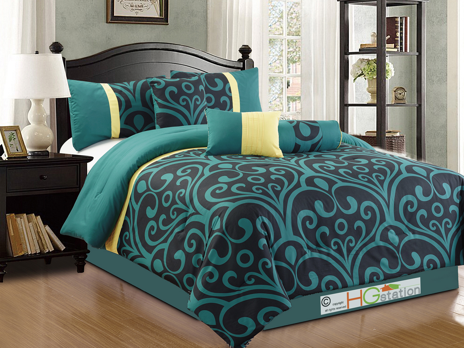 7 pc bold royal damask floral scroll comforter set teal blue black yellow king ebay. Black Bedroom Furniture Sets. Home Design Ideas