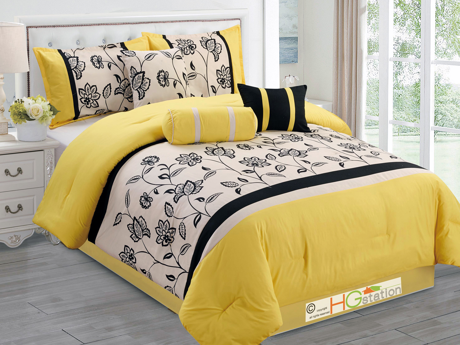 Black And Yellow Comforter Queen