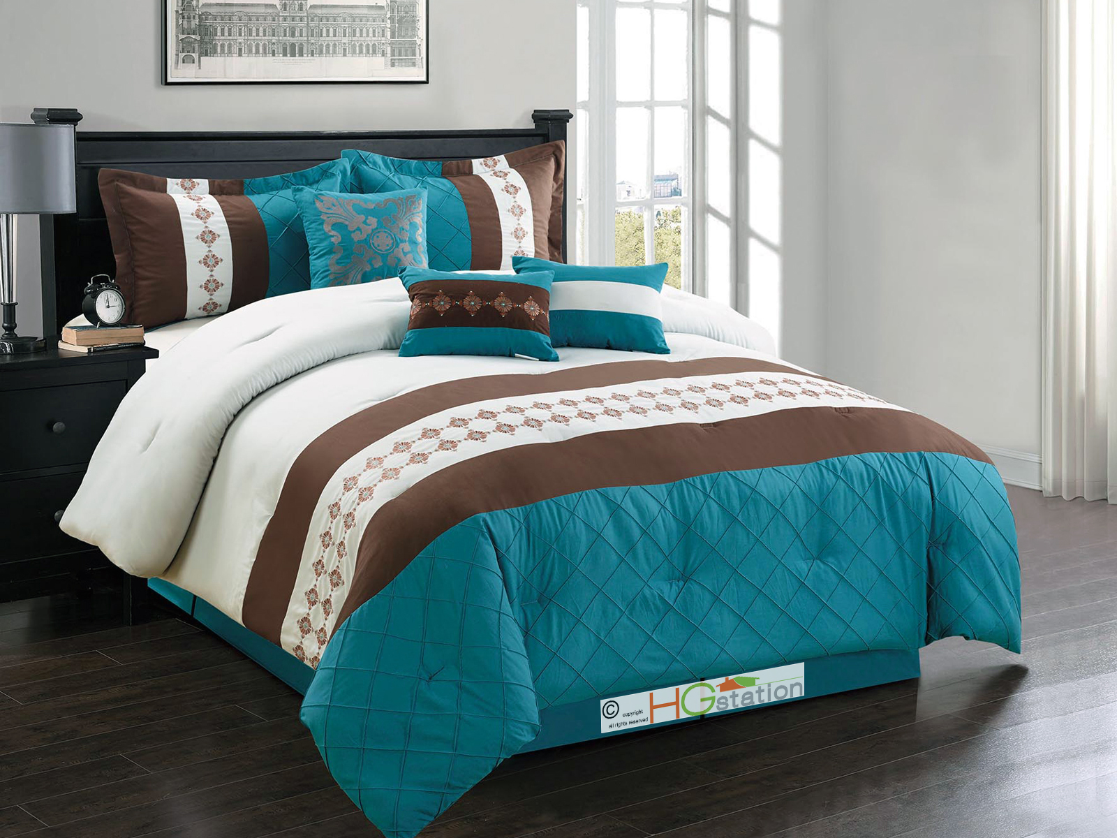 7 floral french lily embroidery comforter set teal brown. Black Bedroom Furniture Sets. Home Design Ideas