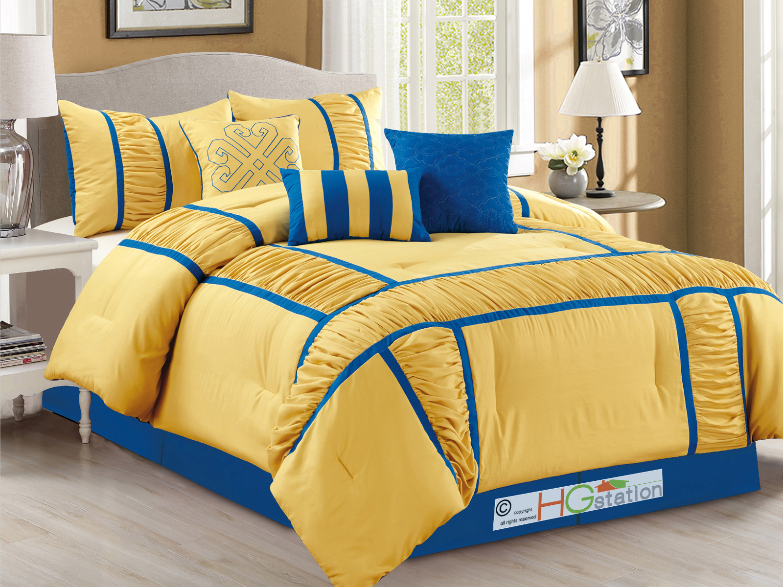 7 pc gabbi ruffled ruched patchwork striped comforter set - Yellow and blue bedding queen ...