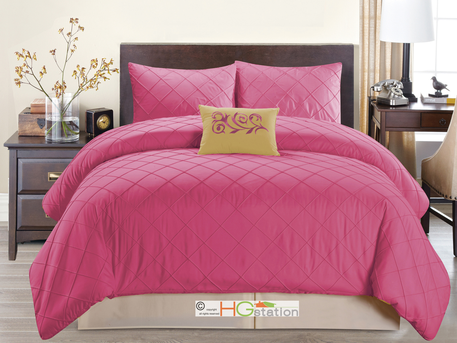 4 pc diamond pleated pintuck comforter set embroidered for Hot pink bedroom set