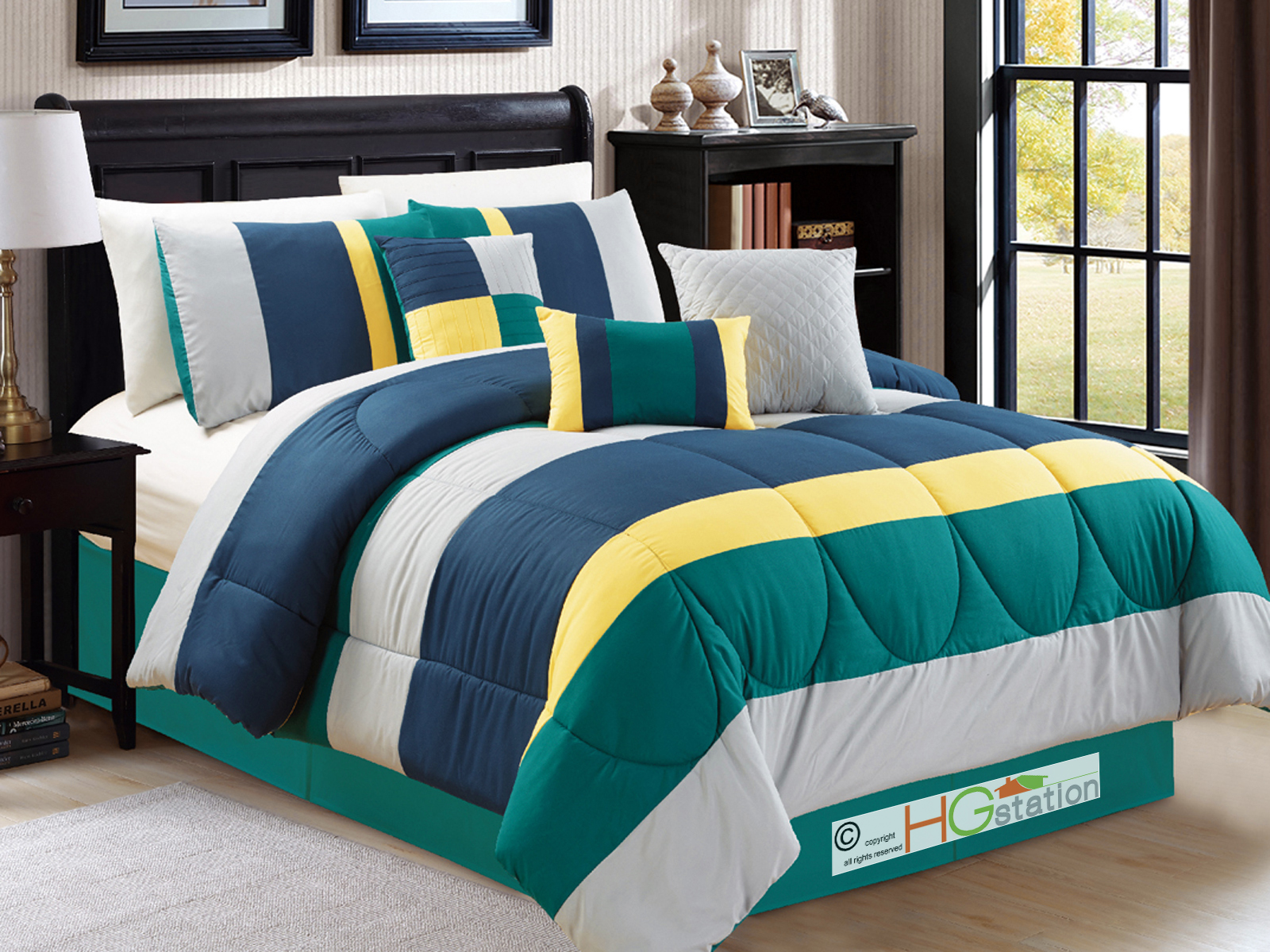 7 pc modern striped comforter set teal green navy blue yellow silver gray queen. Black Bedroom Furniture Sets. Home Design Ideas