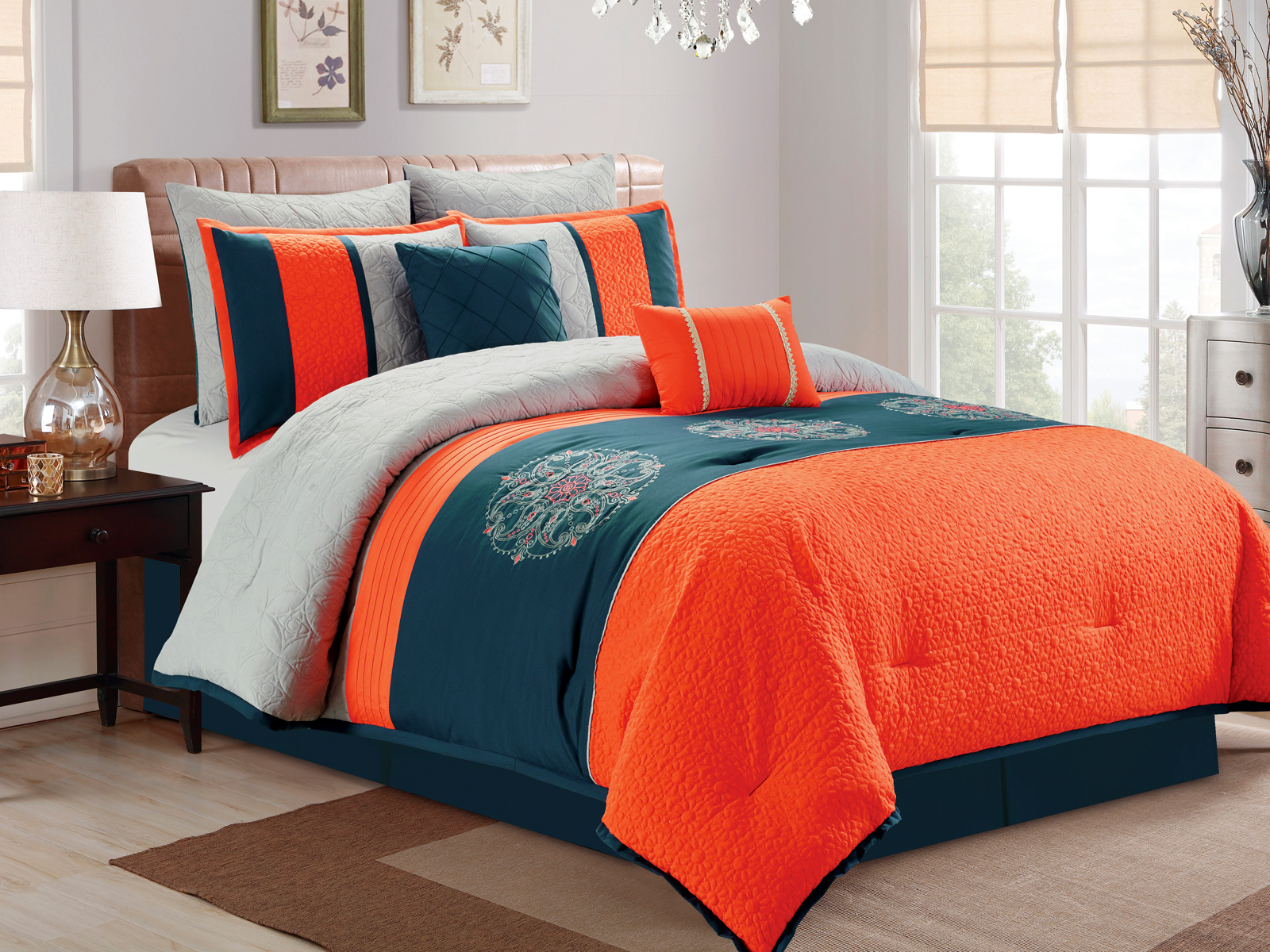 7 pc paisley floral medallion embroidery quilted comforter - Blue and orange bedding sets ...