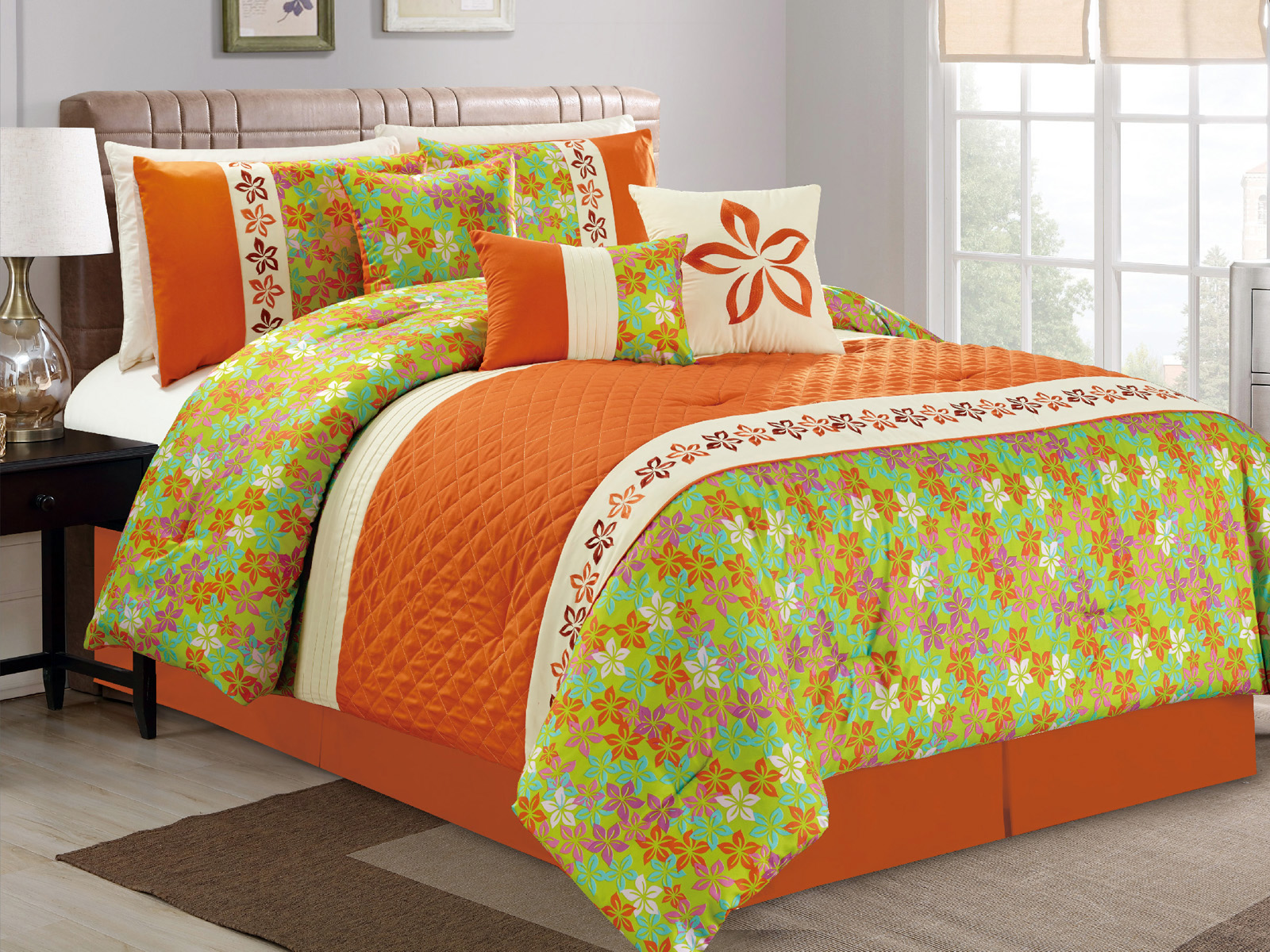 7P Quilted Diamond Floral Embroidery Flock Comforter Set