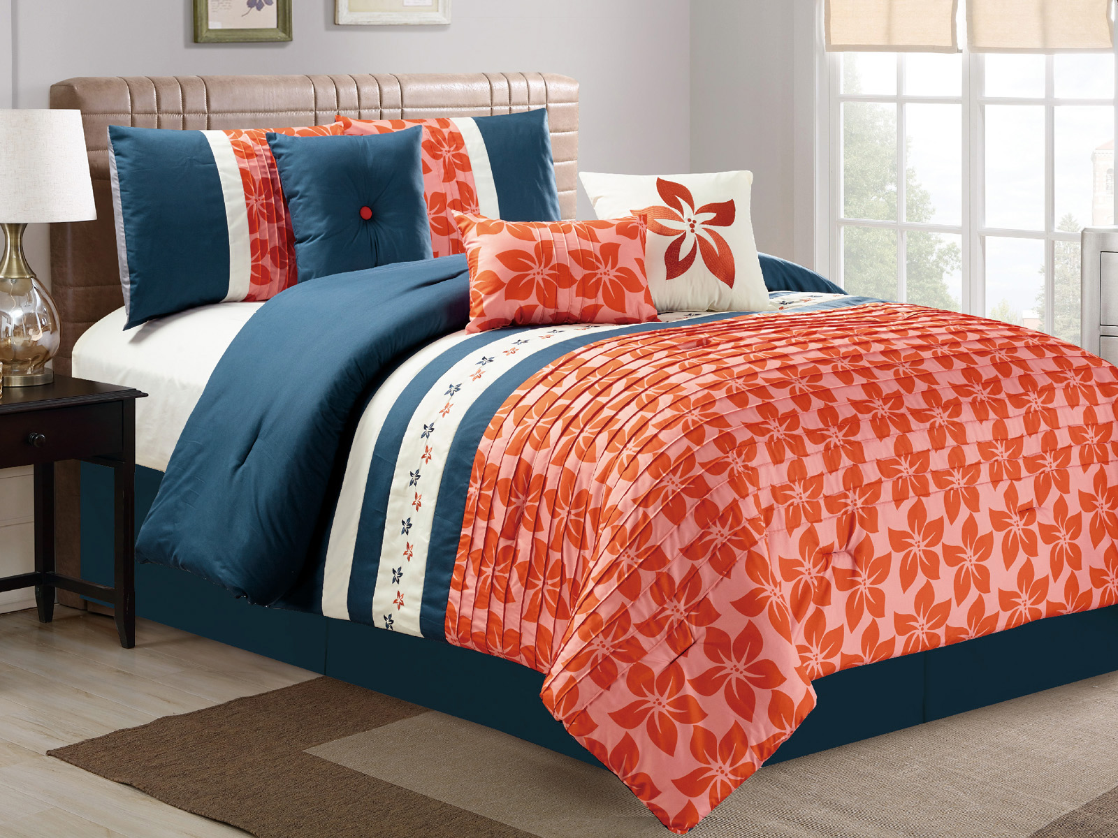 7 pc orchid tree flower pleated embroidery comforter set - Navy blue and orange bedding ...