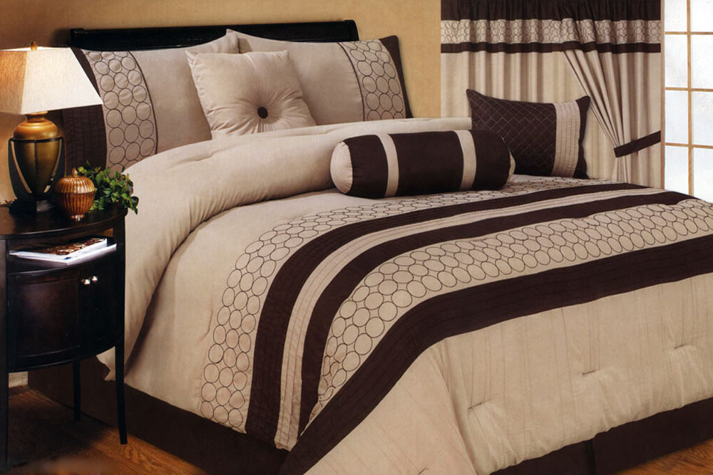 Details about 7-Piece Soft Faux Silk Embroidery Comforter Set Beige ...