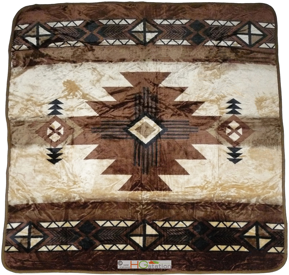 79x94 southwest native indian beige soft plush faux mink for Soft blankets and throws