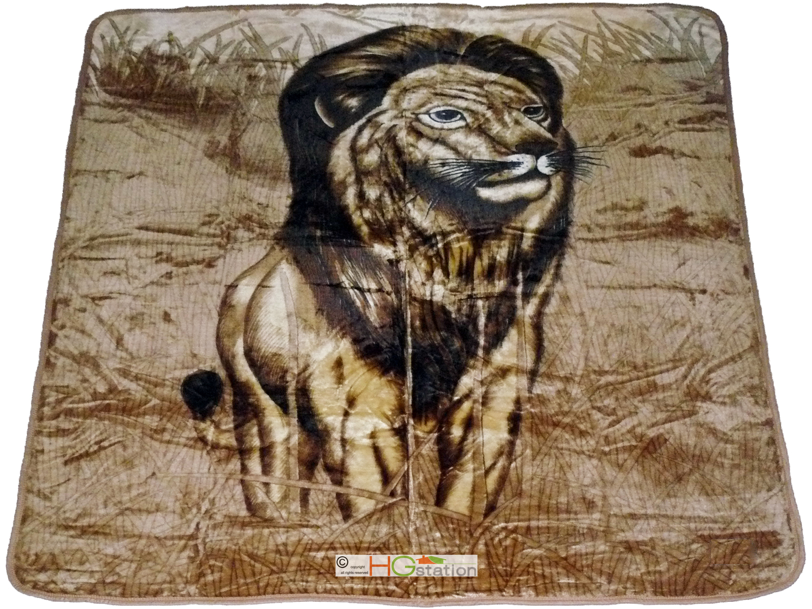 HG station 79x94 Lion King of Jungle Panthera leo Soft Faux Mink Plush Queen Blanket Brown Gold at Sears.com