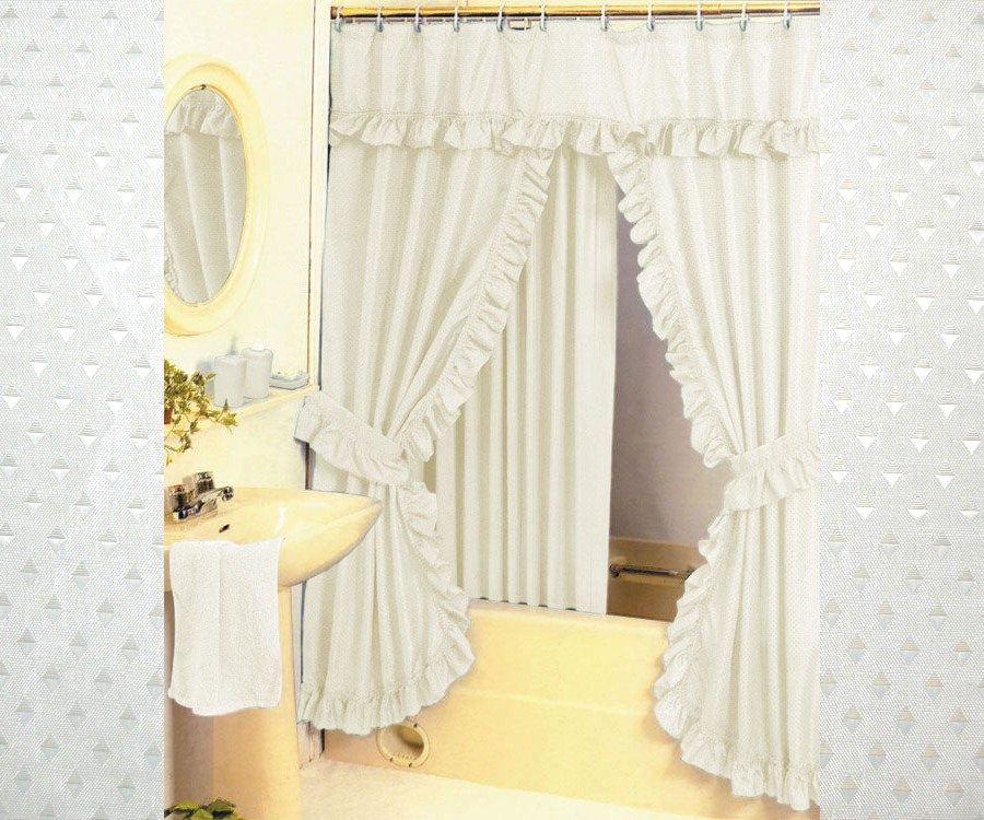 Diamond Pattern Fabric Double Swag Shower Curtain Set
