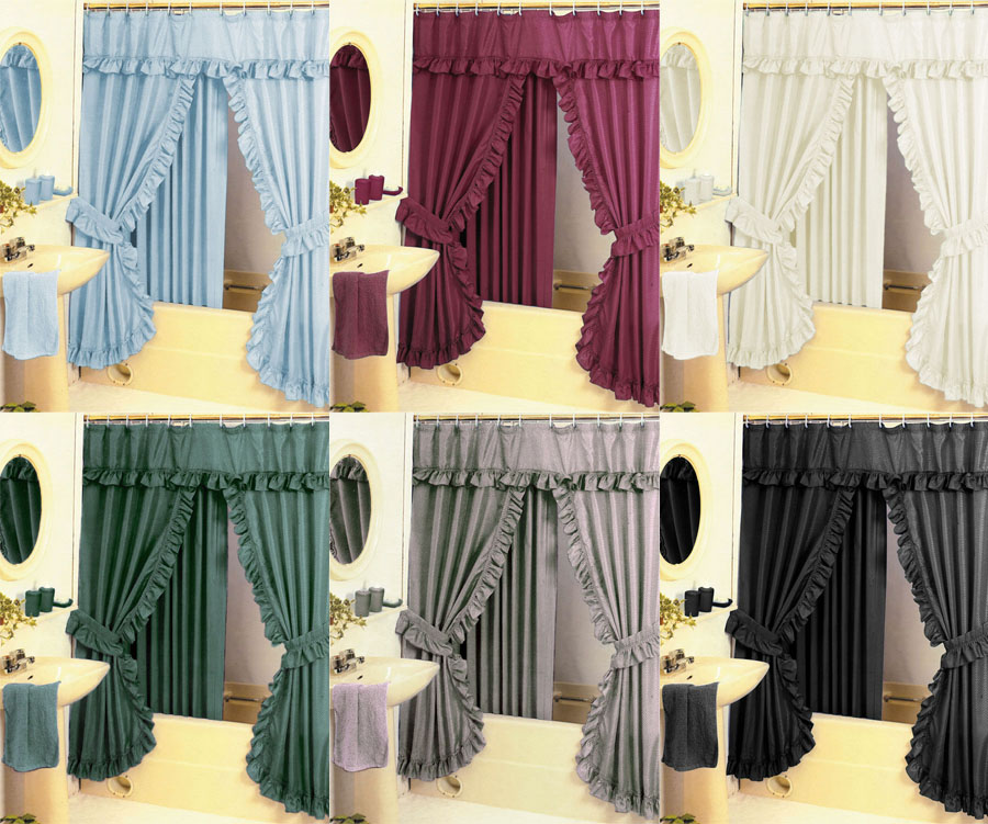 Diamond Pattern Fabric Double Swag Shower Curtain Set Tiebacks