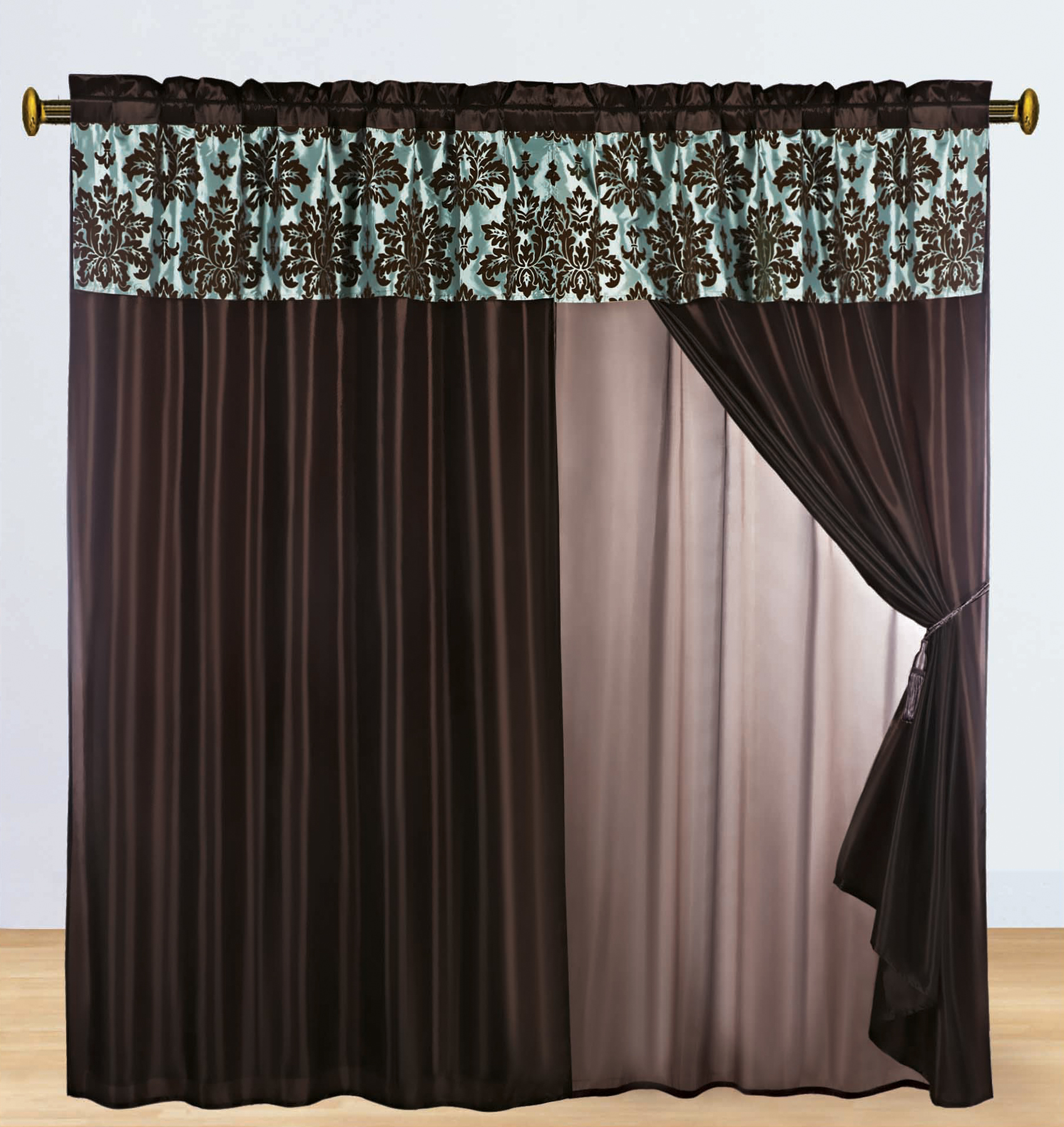 ... Flocking Damask Floral Valance Curtain Set Blue Brown Lining | eBay