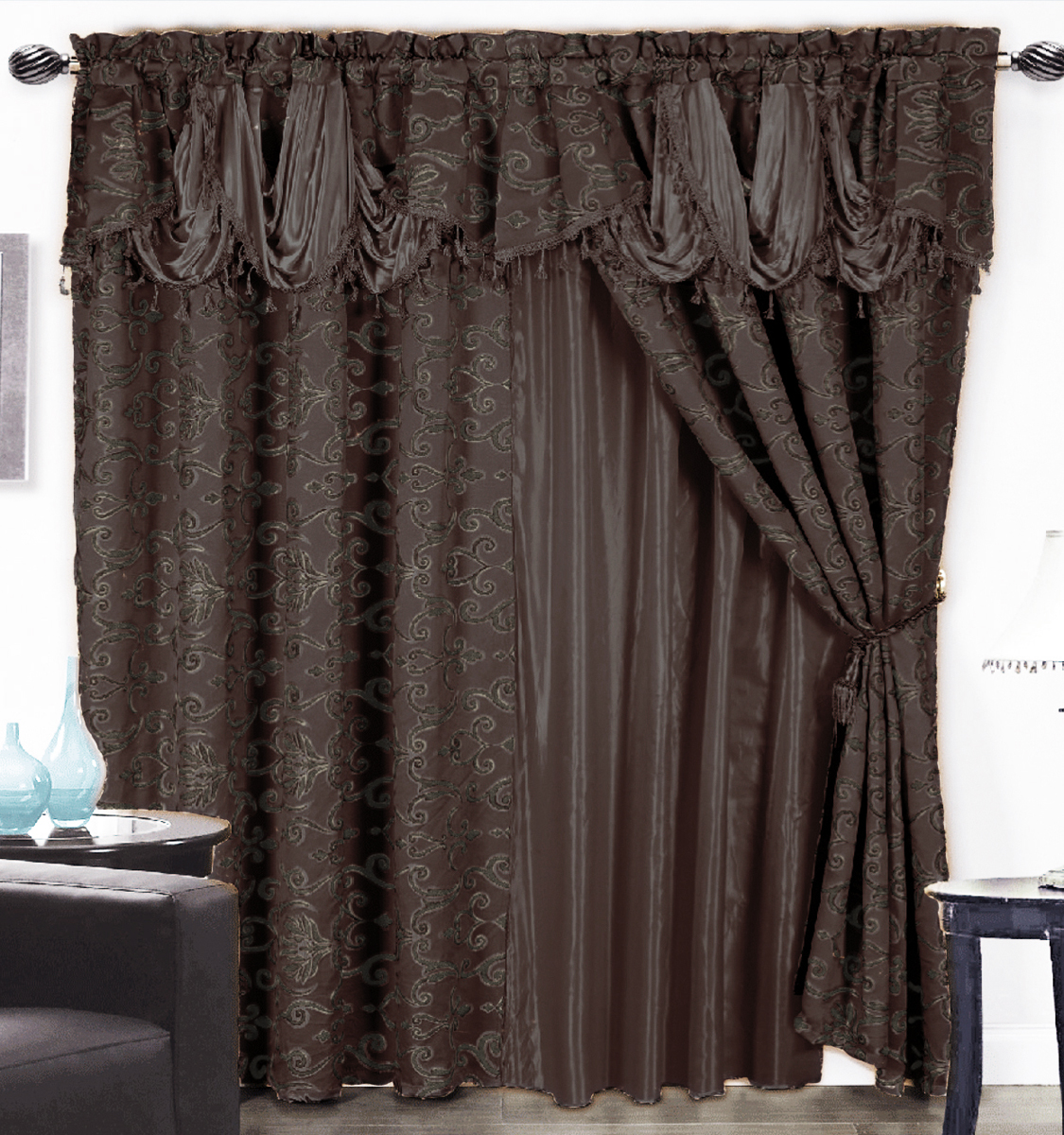 4 Pc Luxurious Satin Jacquard Damask Curtain Set Waterfall Valance Coffee Brown Ebay