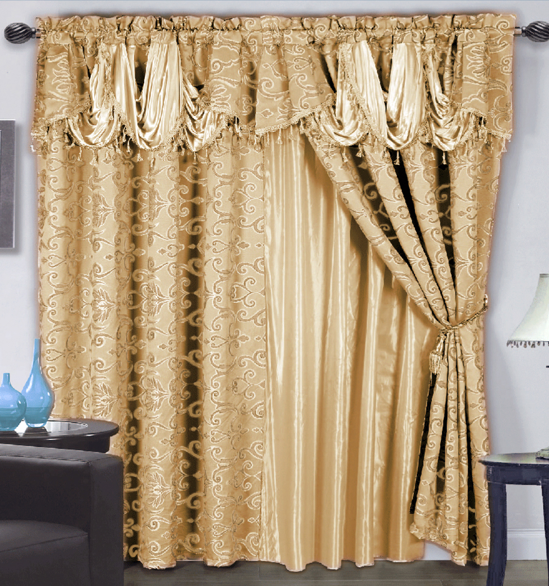 4 Pc Luxurious Satin Jacquard Damask Curtain Set Waterfall Valance Linings Gold Ebay