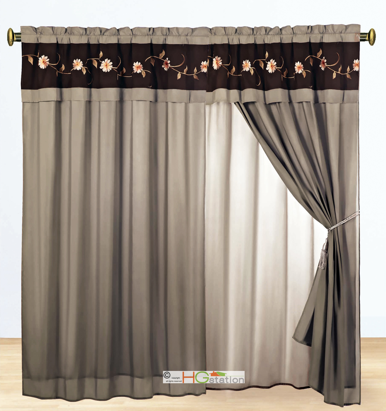 11 Pc Floral Scroll Embroidery Stripe Comforter Curtain