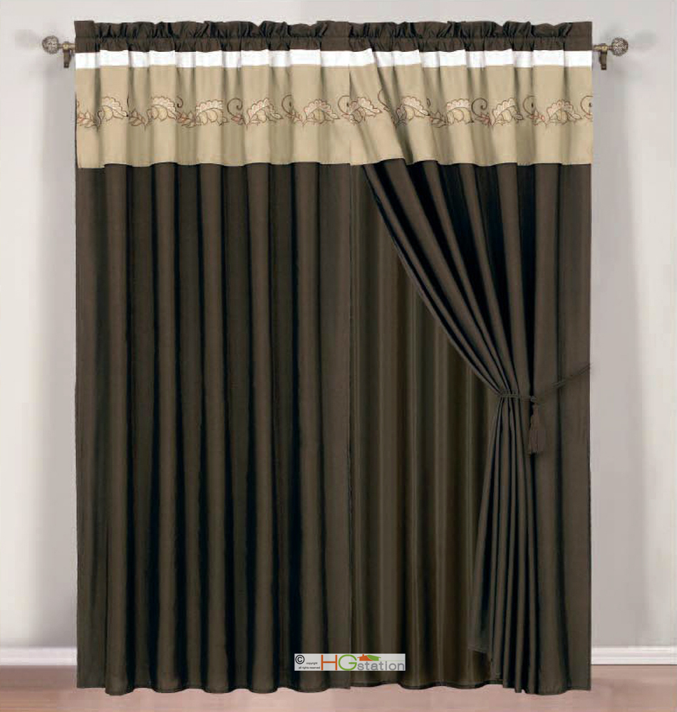 P botanic garden spores leaves embroidery curtain set