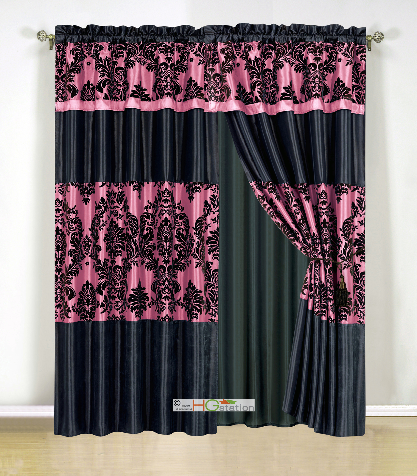 damask striped curtain set hot pink black valance drape ebay