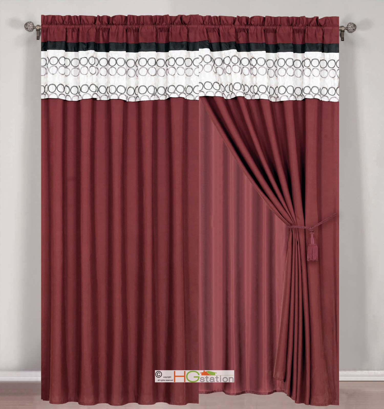 4 Pc Circle Embroidery Striped Curtain Set Burgundy Black