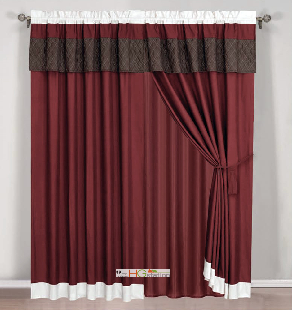 4Pc Quilted Diamond Striped Curtain Set Burgundy Brown