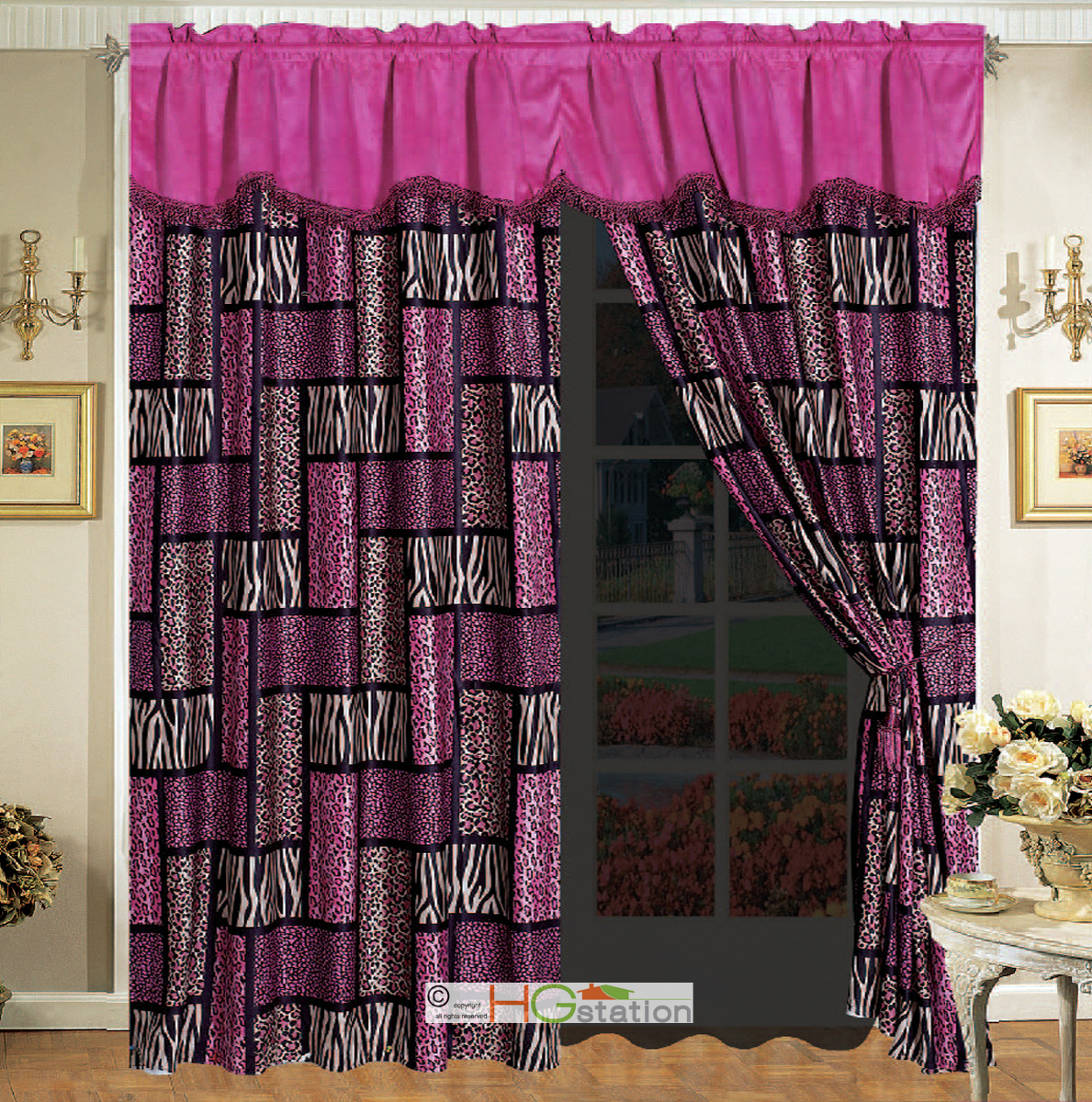 ... Leopard Cheetah Jaguar Tiger Faux Fur Curtain Set Pink | eBay