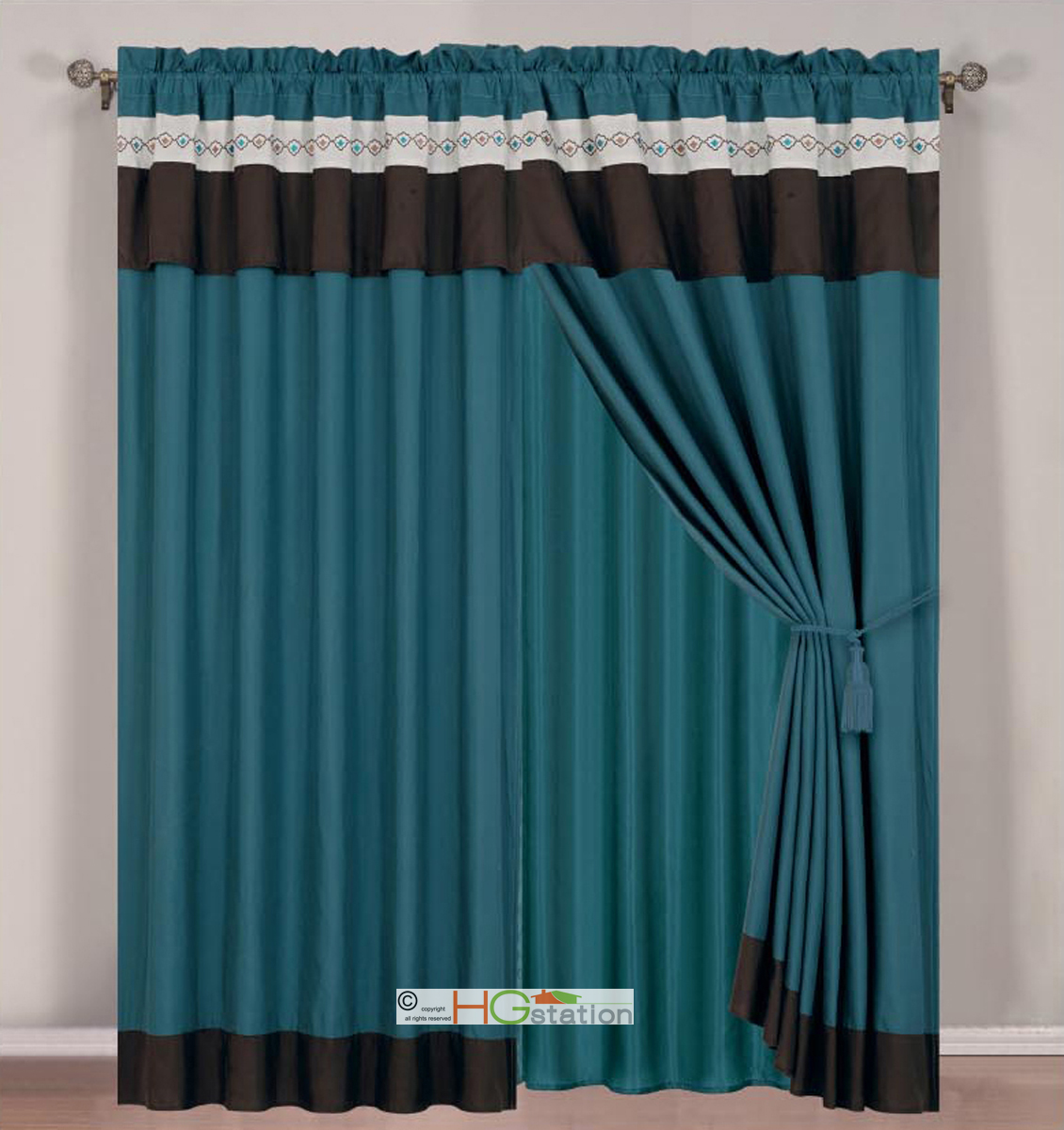 Hg Station 4 Pc Floral Damask Embroidery Curtain Set Teal