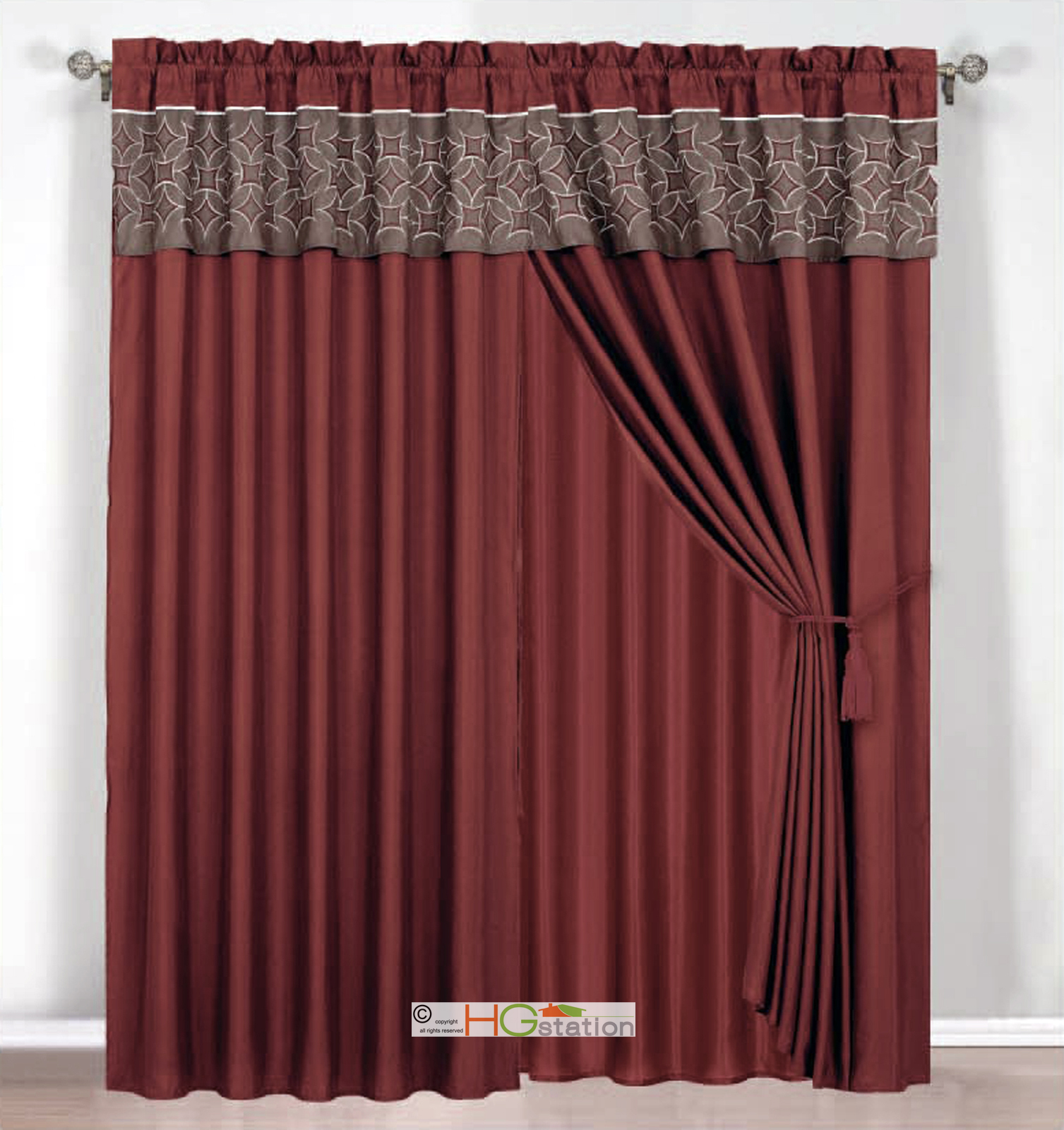 4 Pc Embroidered Medallion Circle Curtain Set Rust Coffee Valance Drape Liner Ebay
