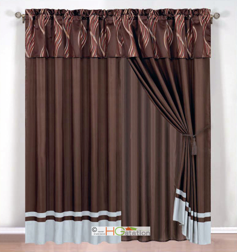 4 Pc Leaf Ribbon Scribble Jacquard Curtain Set Brown Gray Rust Valance Drape Ebay