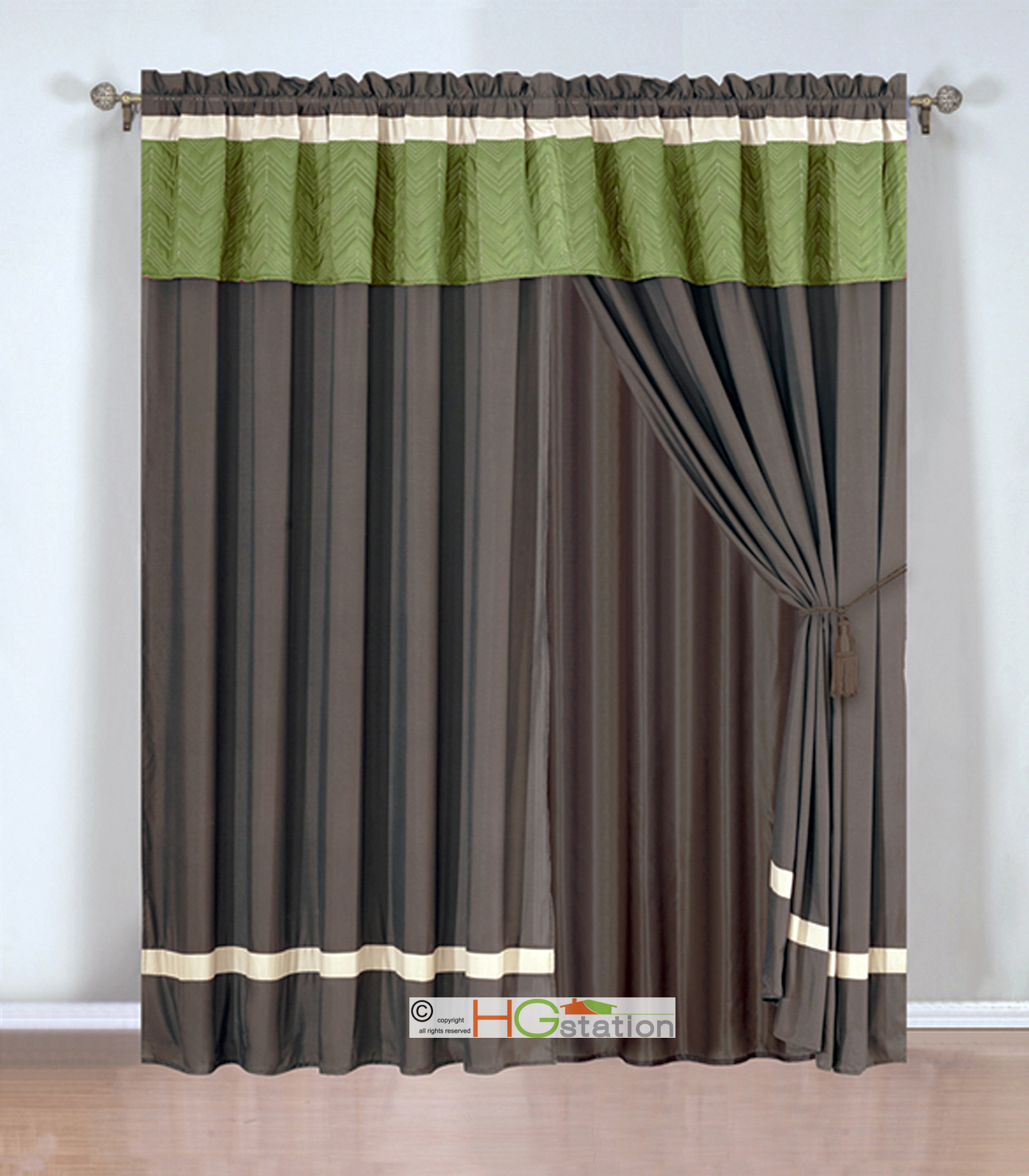 4 Pc Quilted Chevron Zigzag Striped Curtain Set Sage Brown